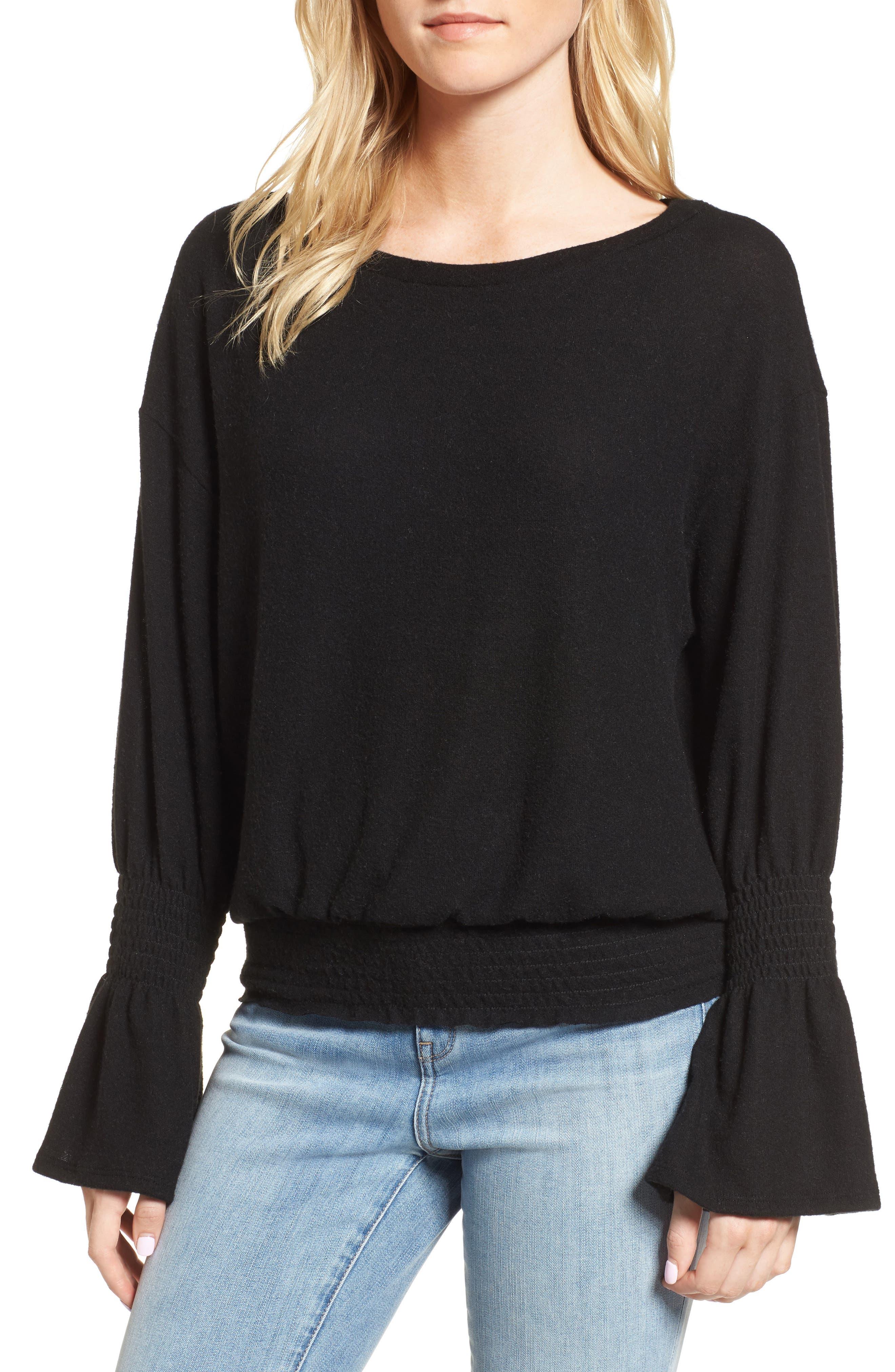 Brushed Smocked Sweatshirt,                         Main,                         color, 001