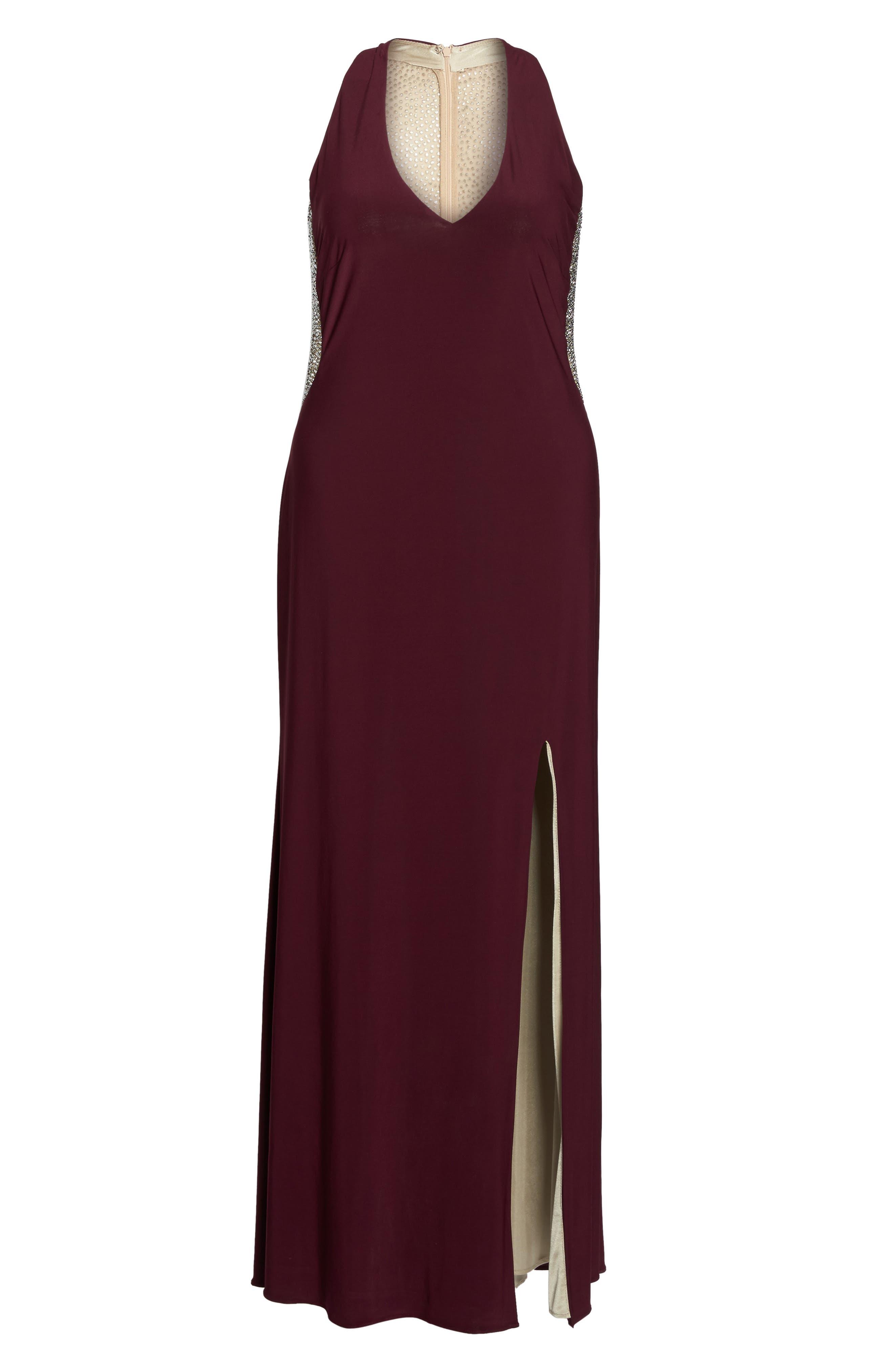 Embellished Back Jersey Gown,                             Alternate thumbnail 6, color,                             607