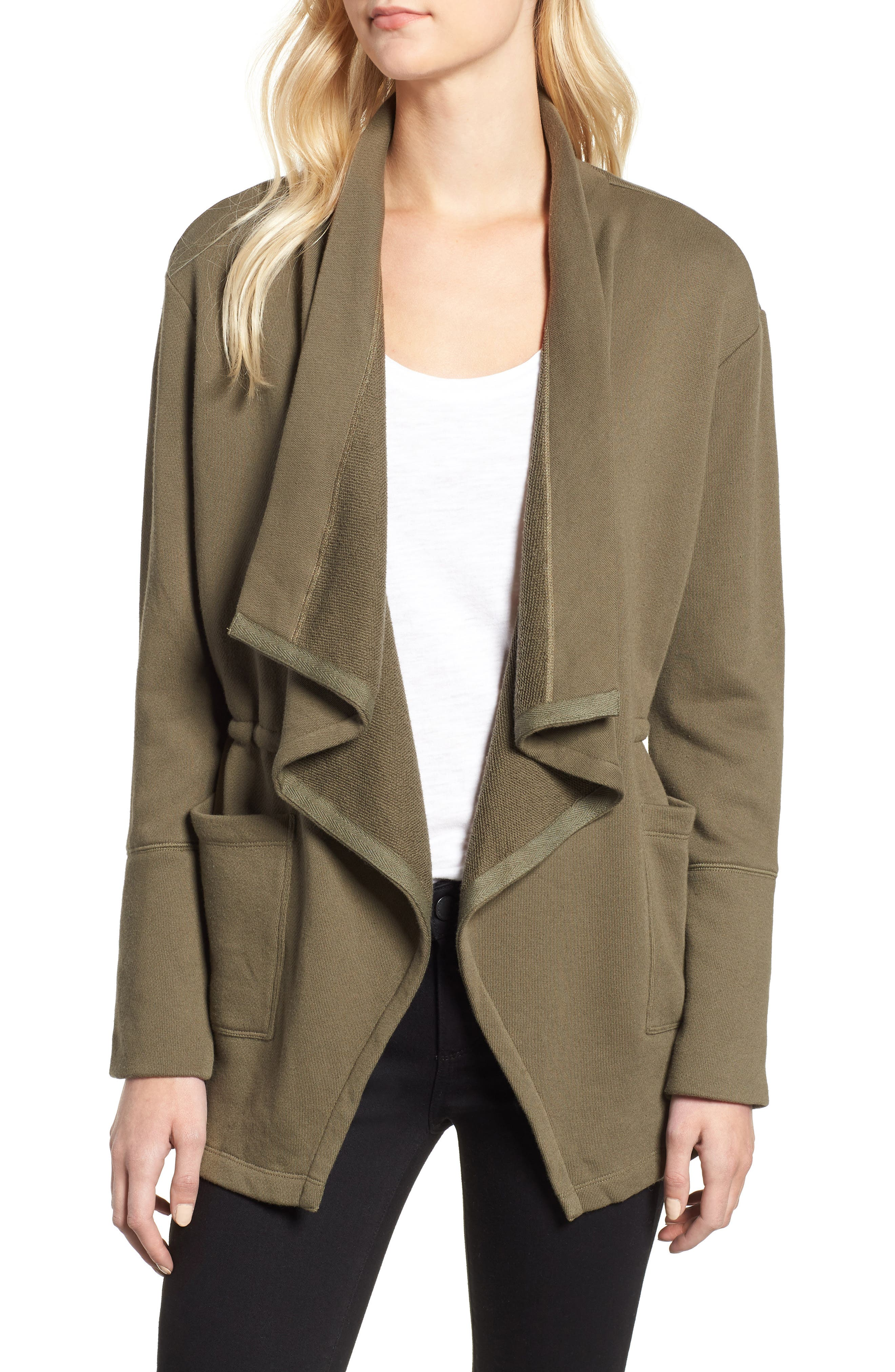 Asymmetrical Drape Collar Terry Jacket,                             Main thumbnail 1, color,                             300