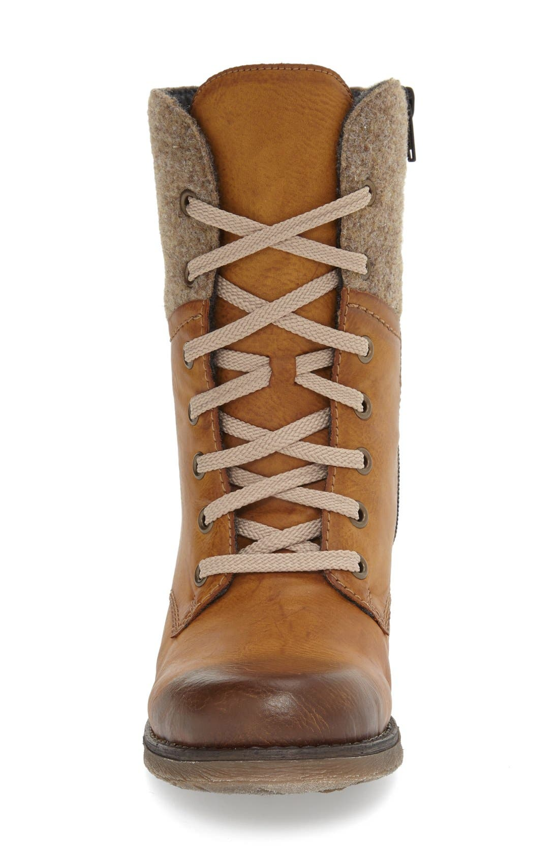 RIEKER ANTISTRESS,                             'Fee 04' Lace-Up Boot,                             Alternate thumbnail 3, color,                             BROWN FAUX LEATHER