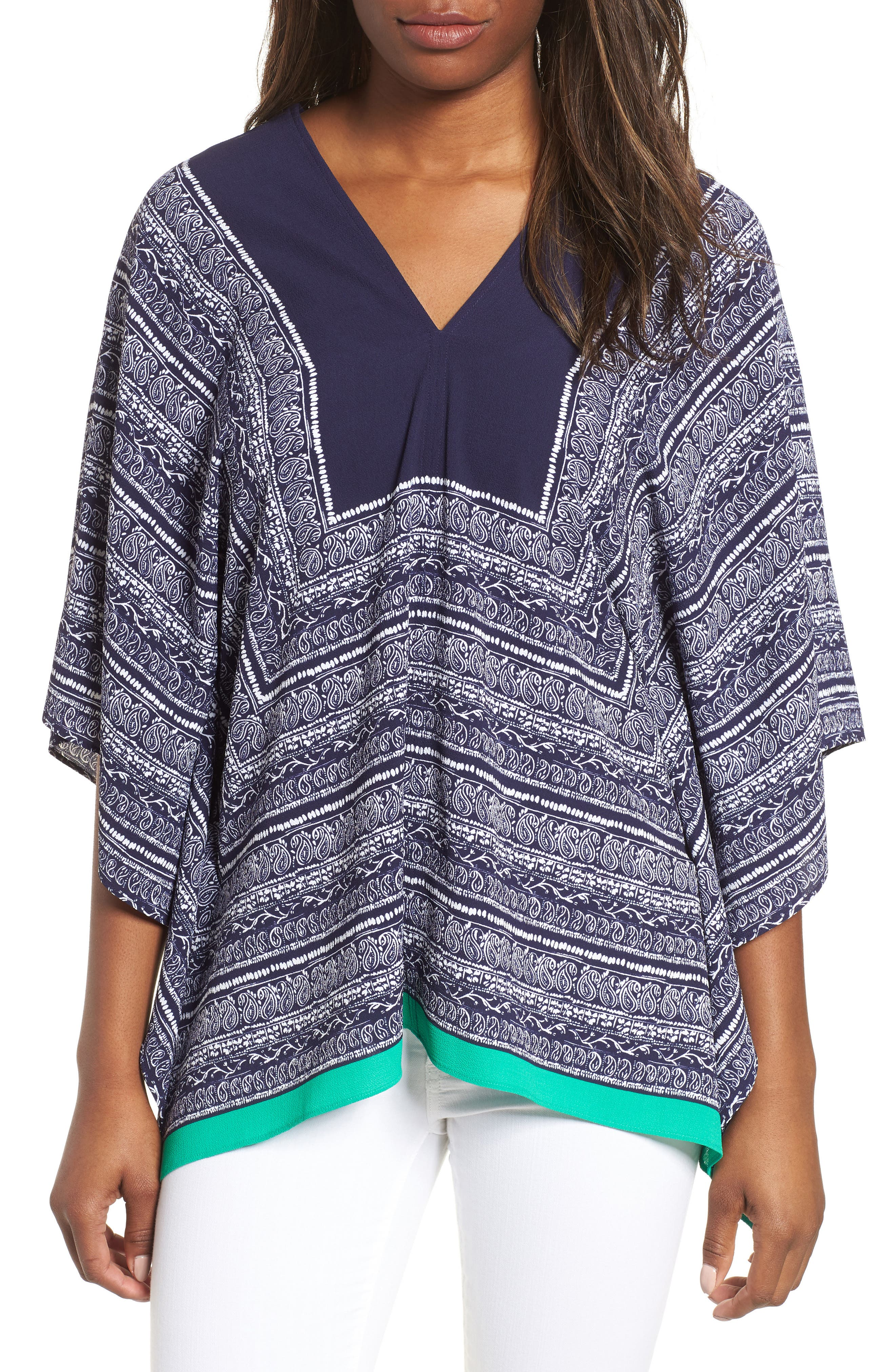 Paisley Scarf Poncho Top,                         Main,                         color, EVENING NAVY