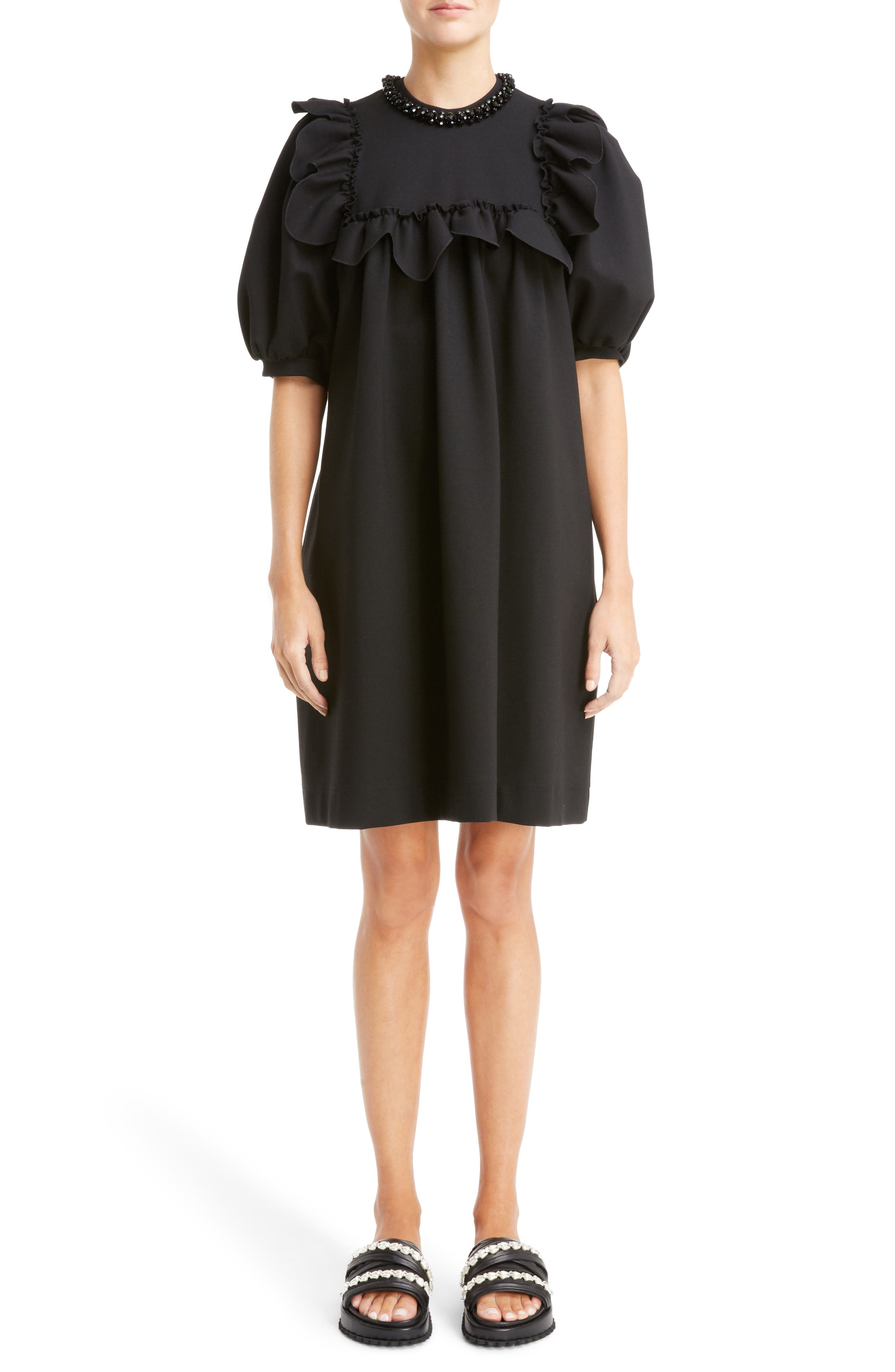 Ruffle Bib Dress,                             Alternate thumbnail 5, color,                             001