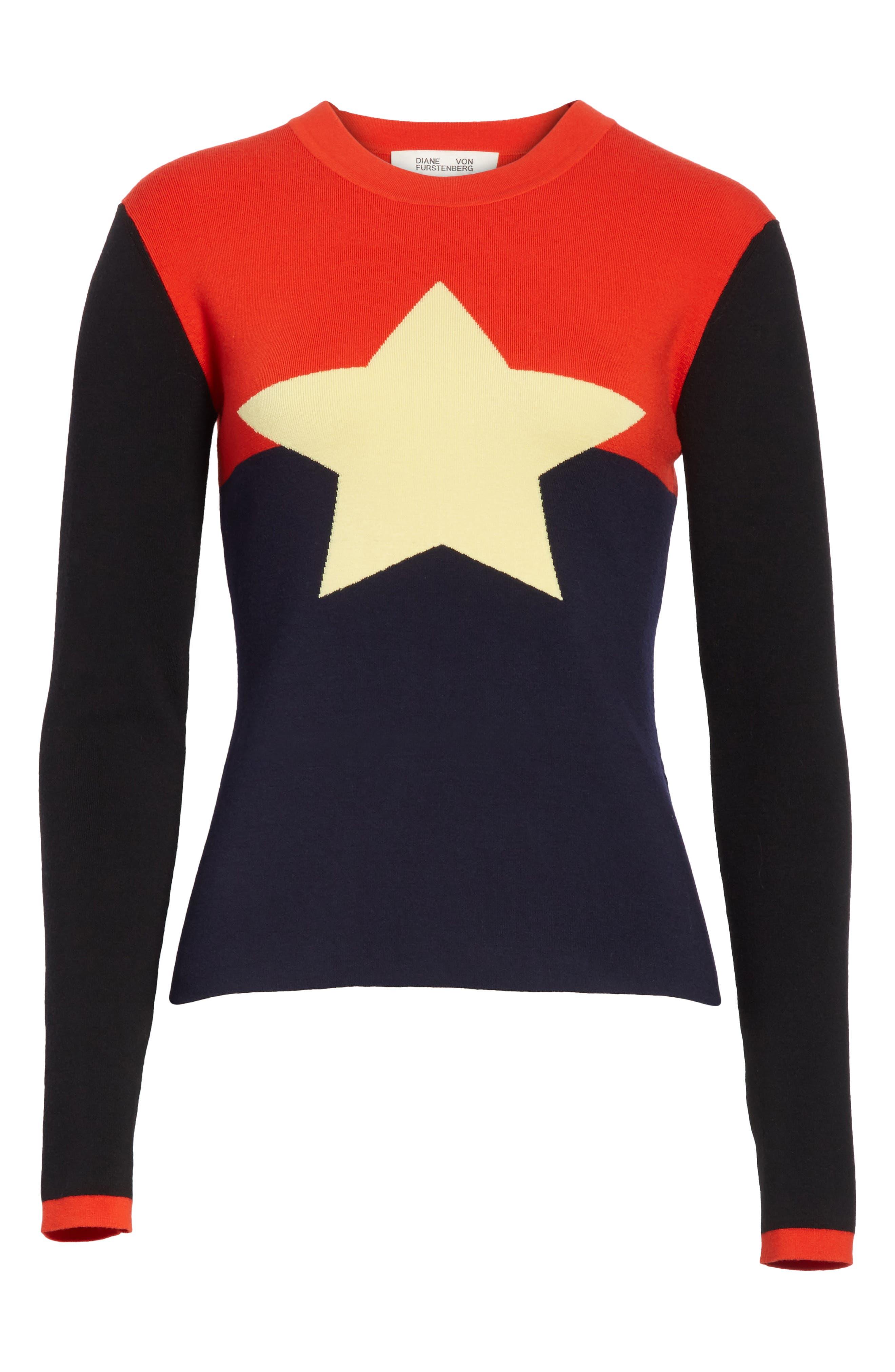 Diane von Furstenberg Star Sweater,                             Alternate thumbnail 6, color,
