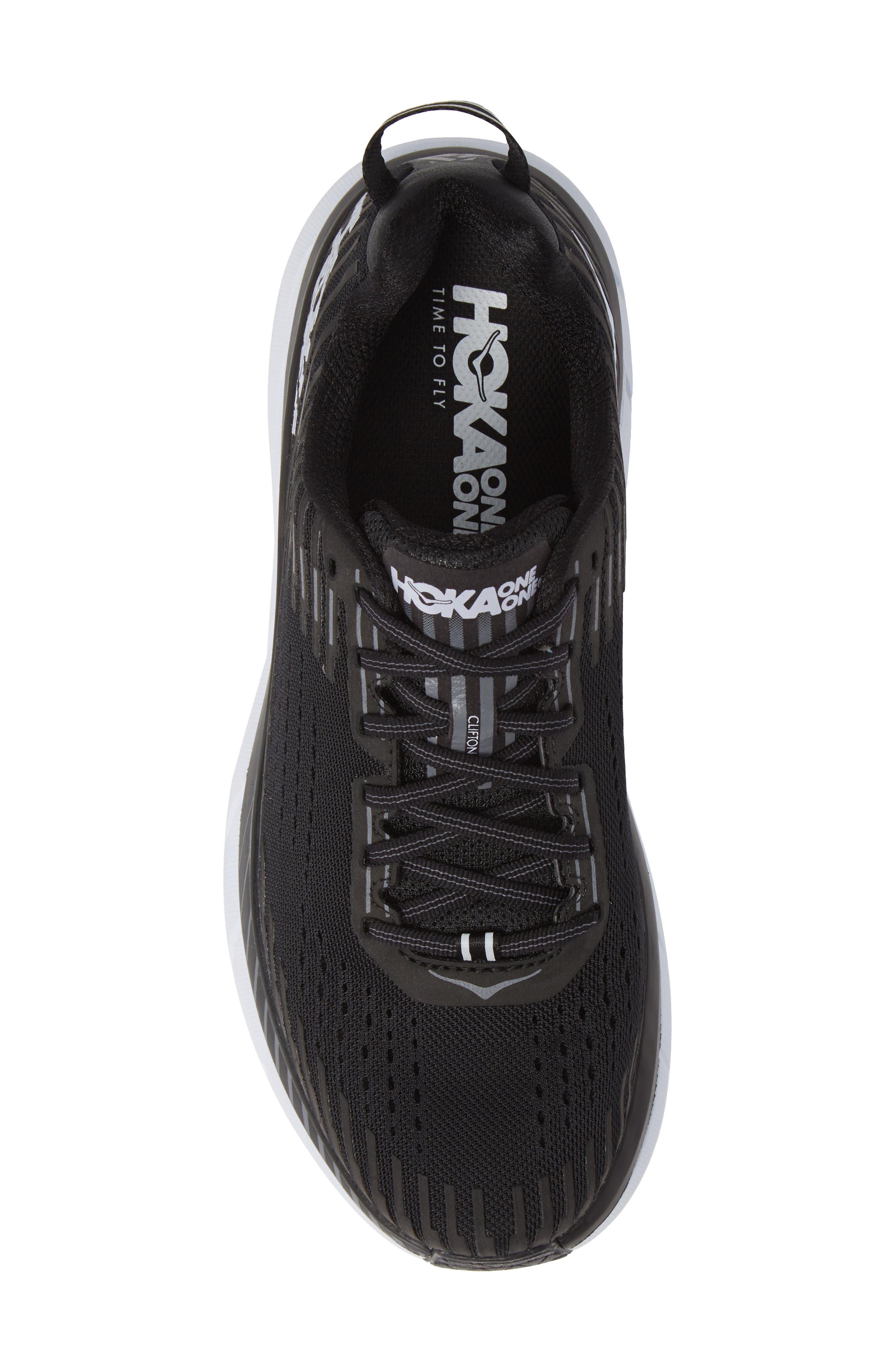 Clifton 5 Running Shoe,                             Alternate thumbnail 5, color,                             BLACK/ WHITE
