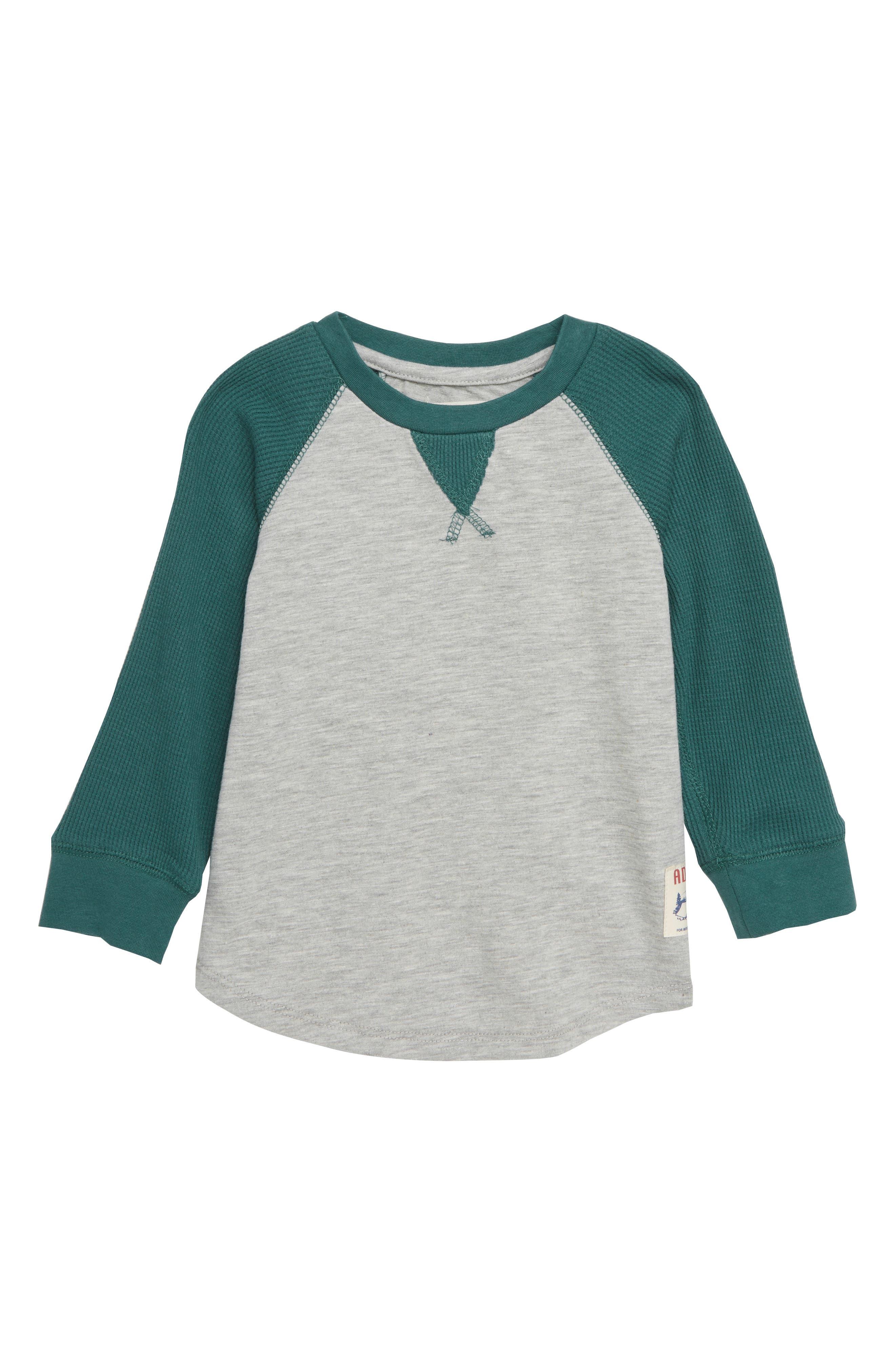 Mixed Knit Raglan T-Shirt,                         Main,                         color, GREEN