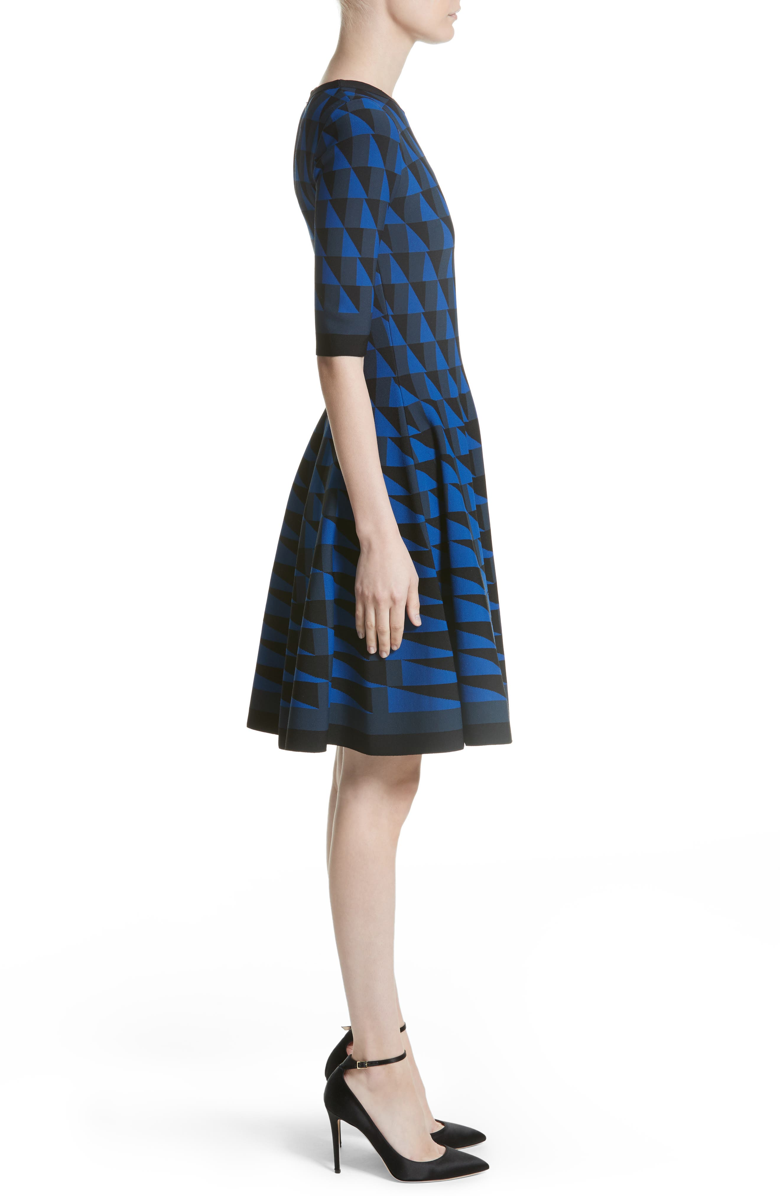 Graphic Compact Knit Fit & Flare Dress,                             Alternate thumbnail 3, color,                             400