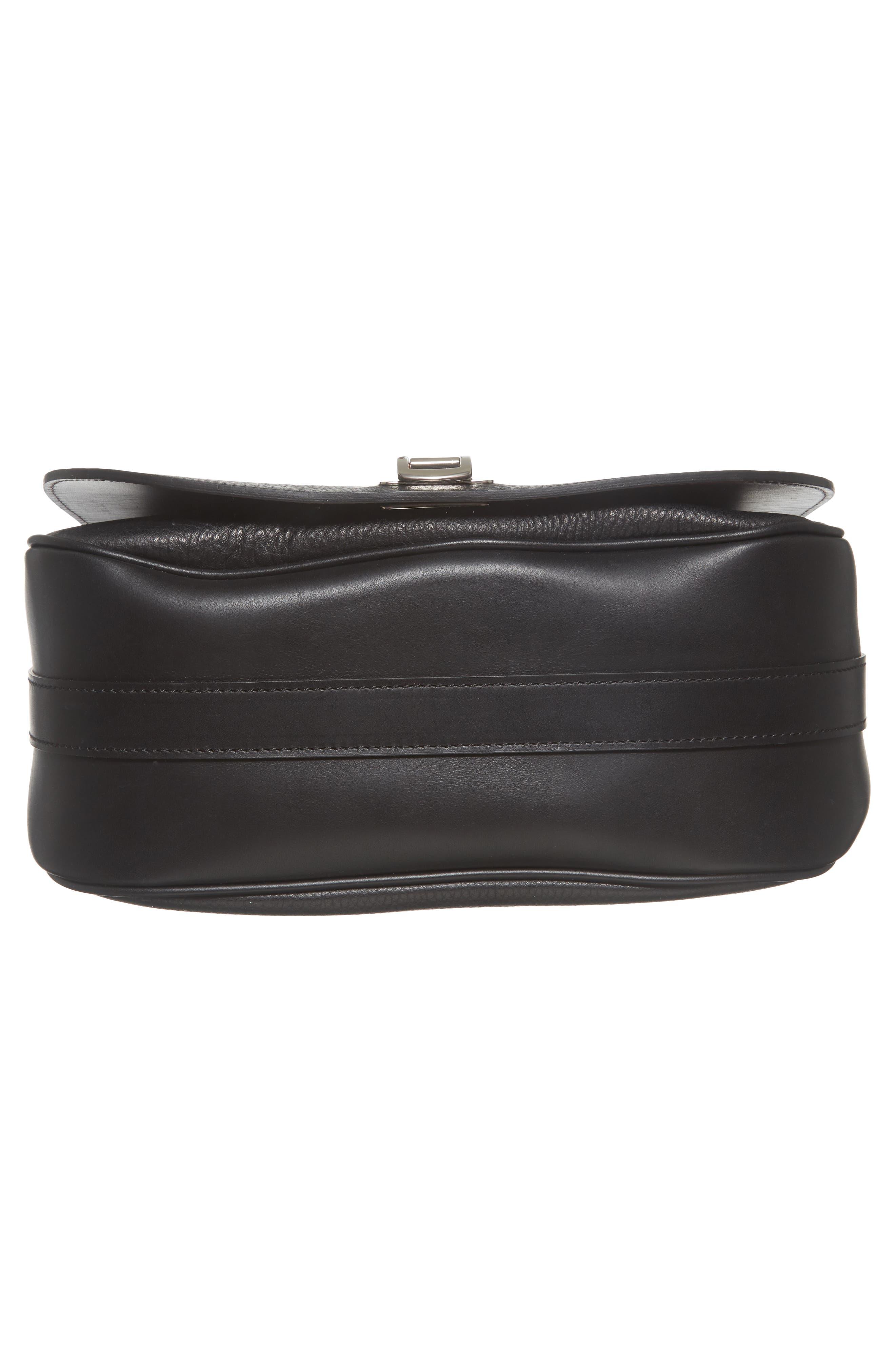 Calfskin Leather Shoulder Bag,                             Alternate thumbnail 6, color,                             001