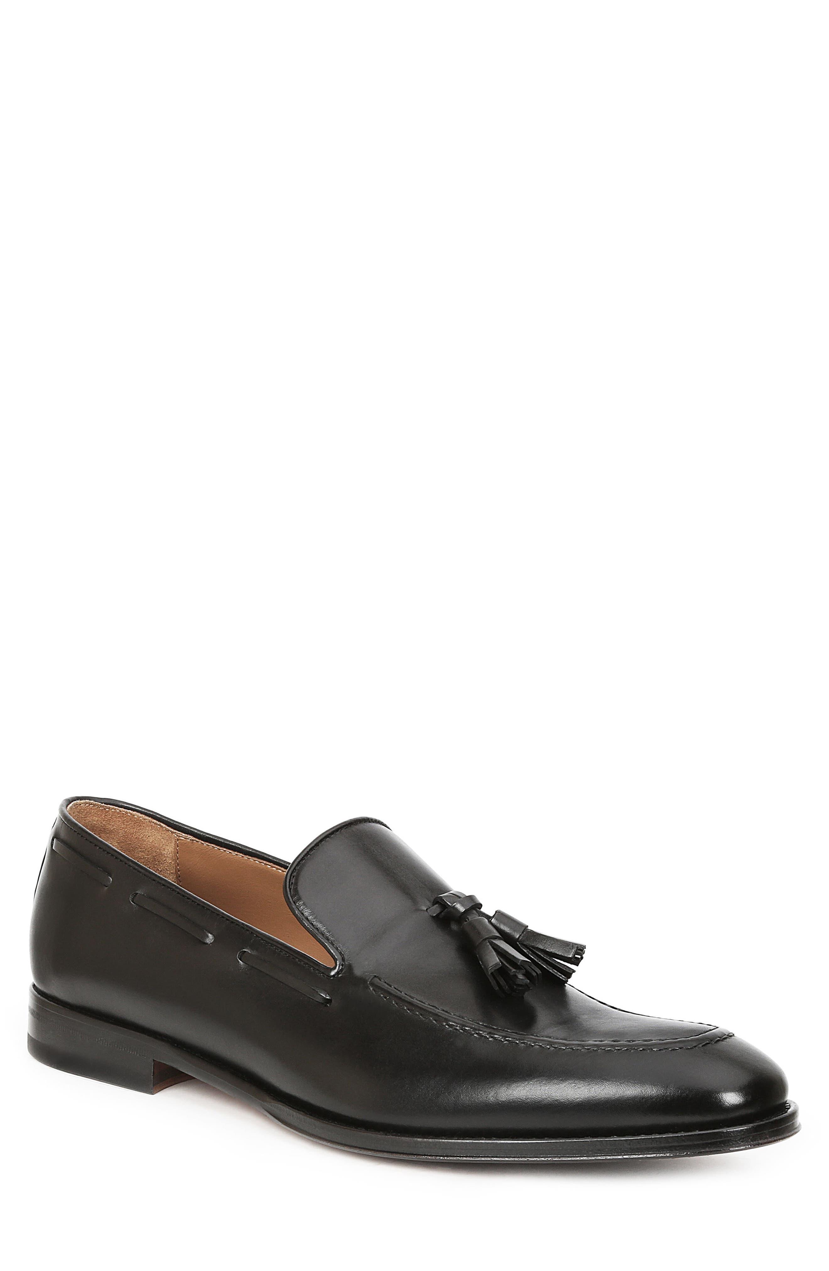 Fabiolo Tasseled Apron Toe Loafer,                         Main,                         color, BLACK
