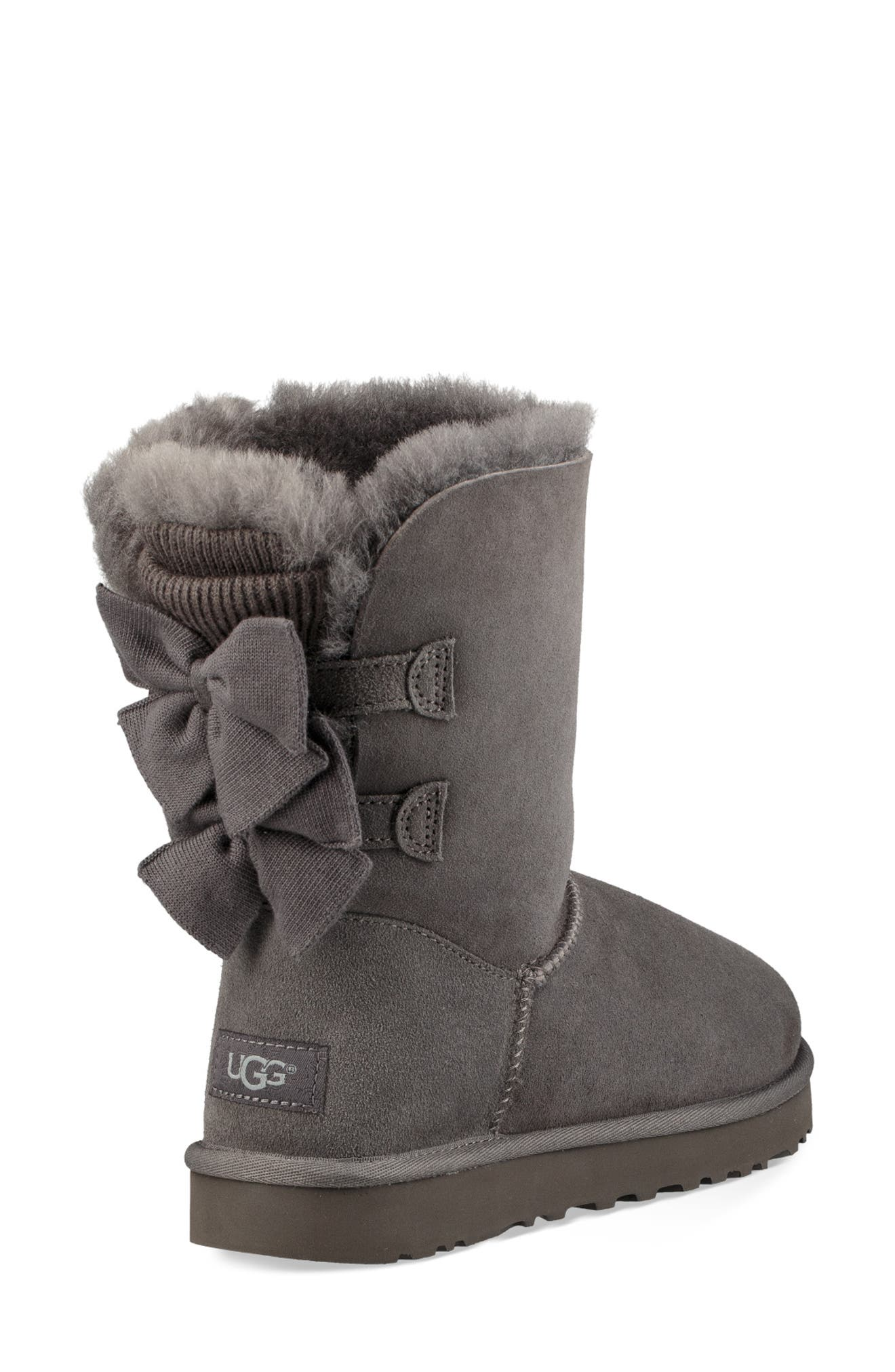 Bailey Bow Genuine Shearling Bootie,                             Alternate thumbnail 2, color,                             020