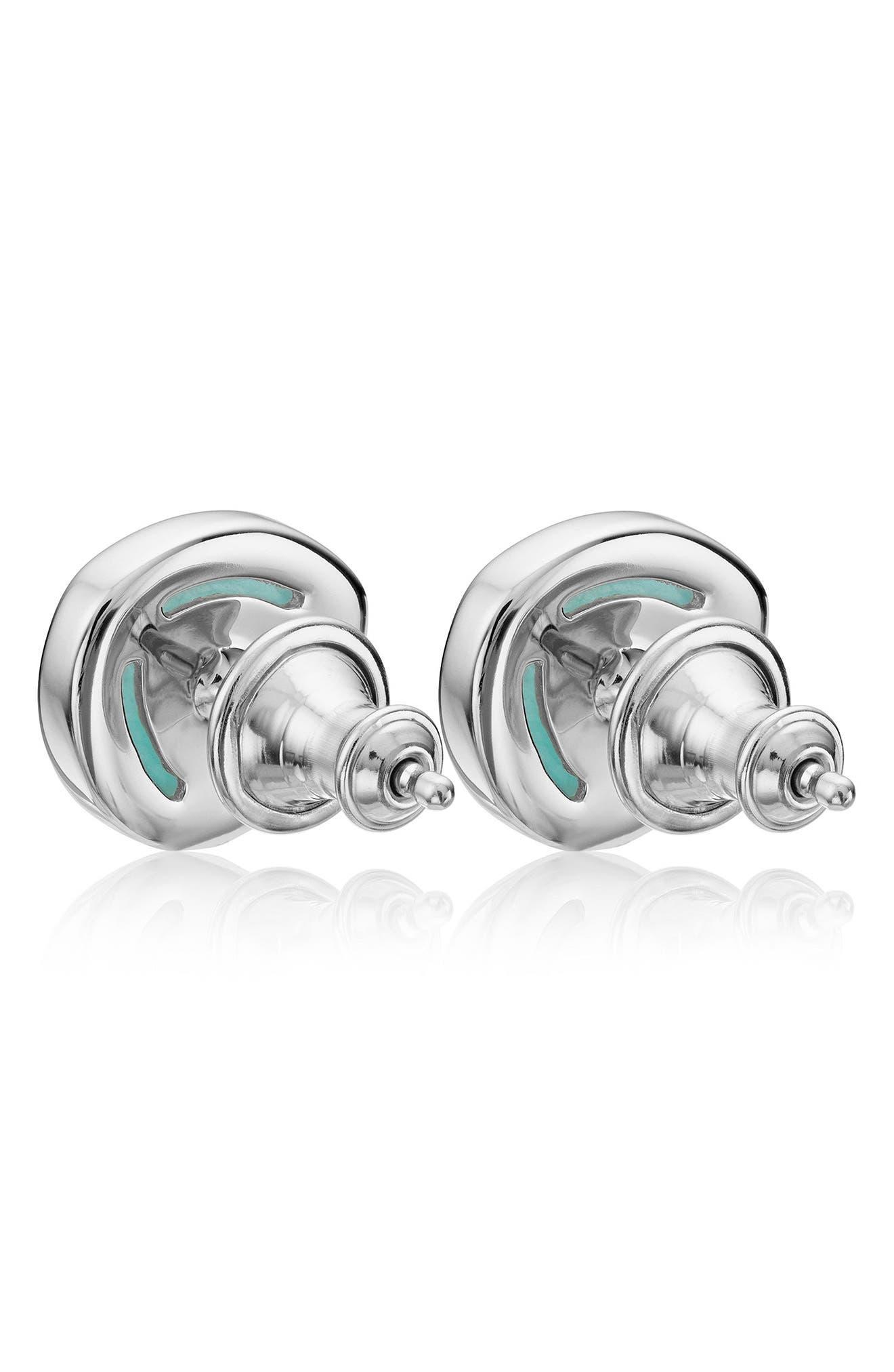 Siren Stud Earrings,                             Alternate thumbnail 3, color,                             SILVER/ AMAZONITE