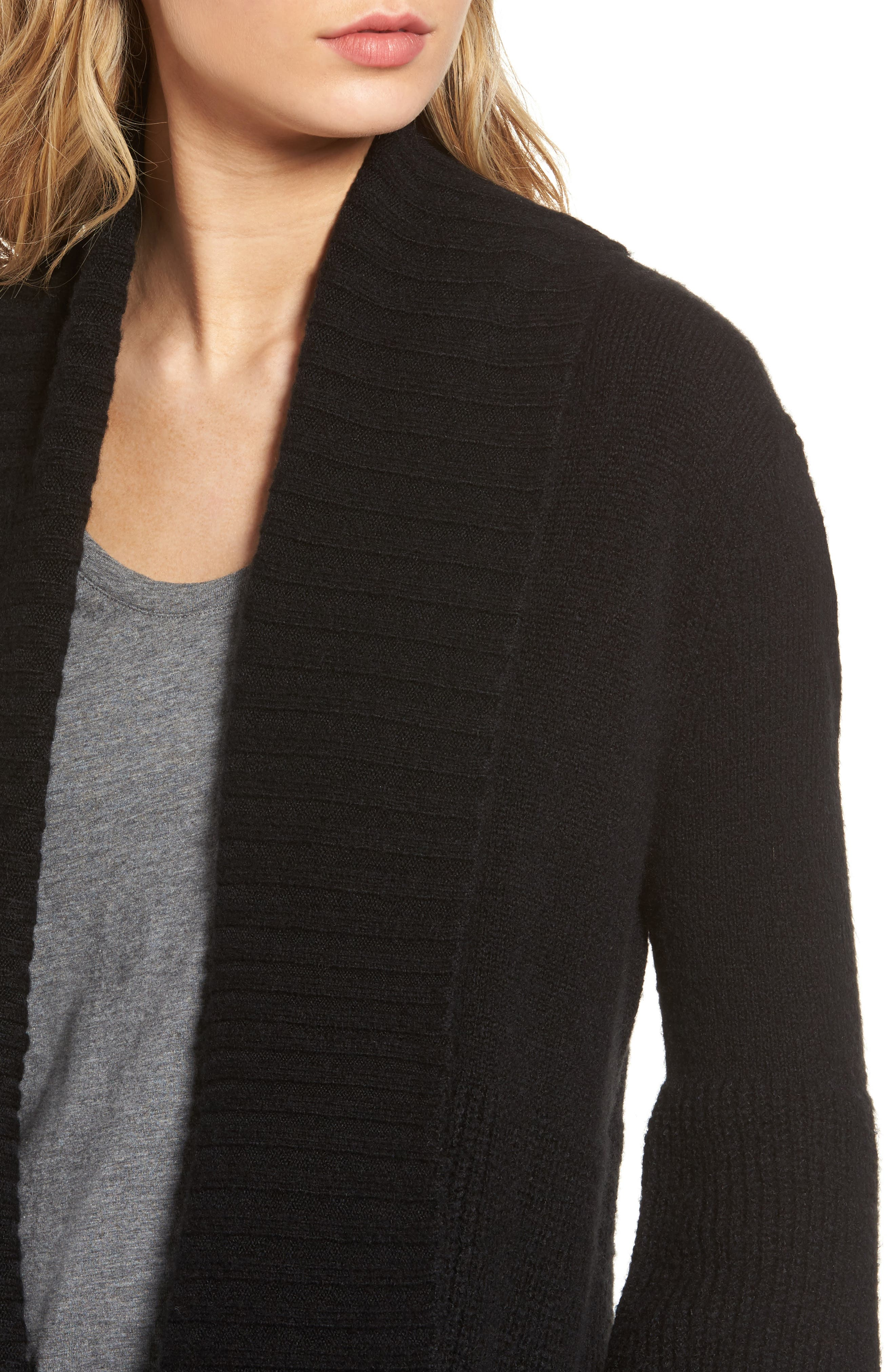 Ribbed Cardigan,                             Alternate thumbnail 4, color,                             001