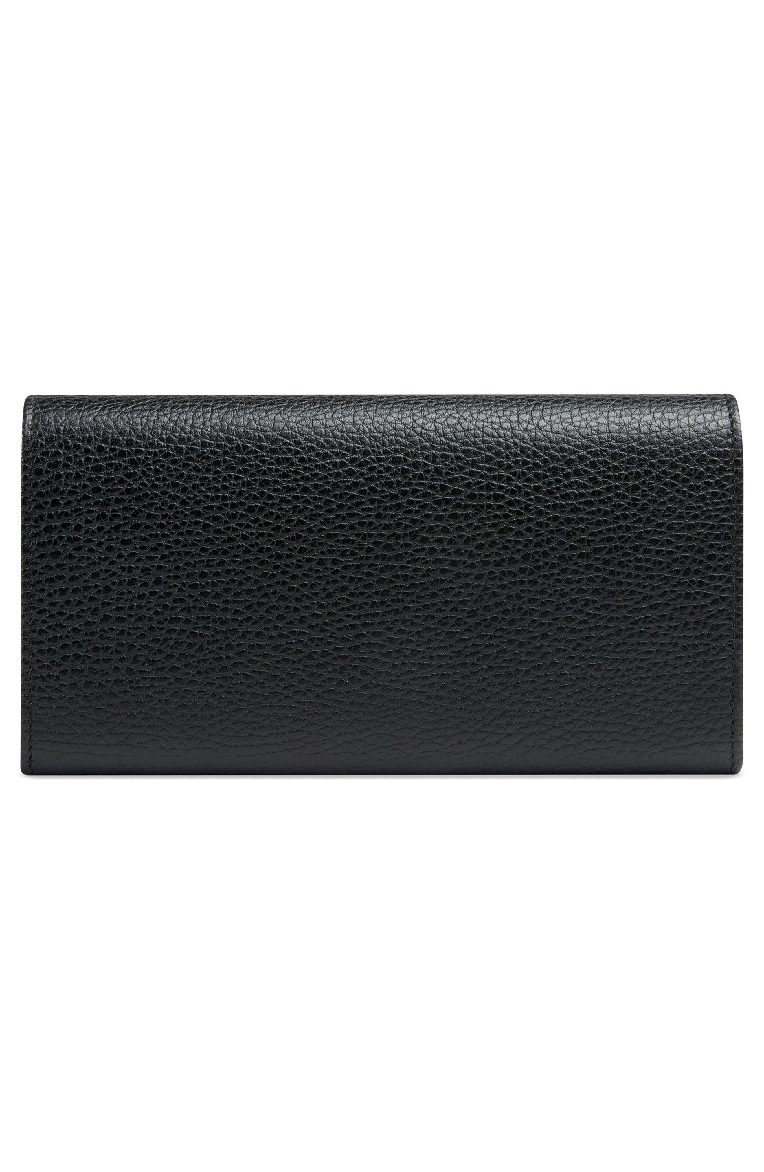 Fiocchino Bow Leather Continental Wallet,                             Alternate thumbnail 3, color,                             001