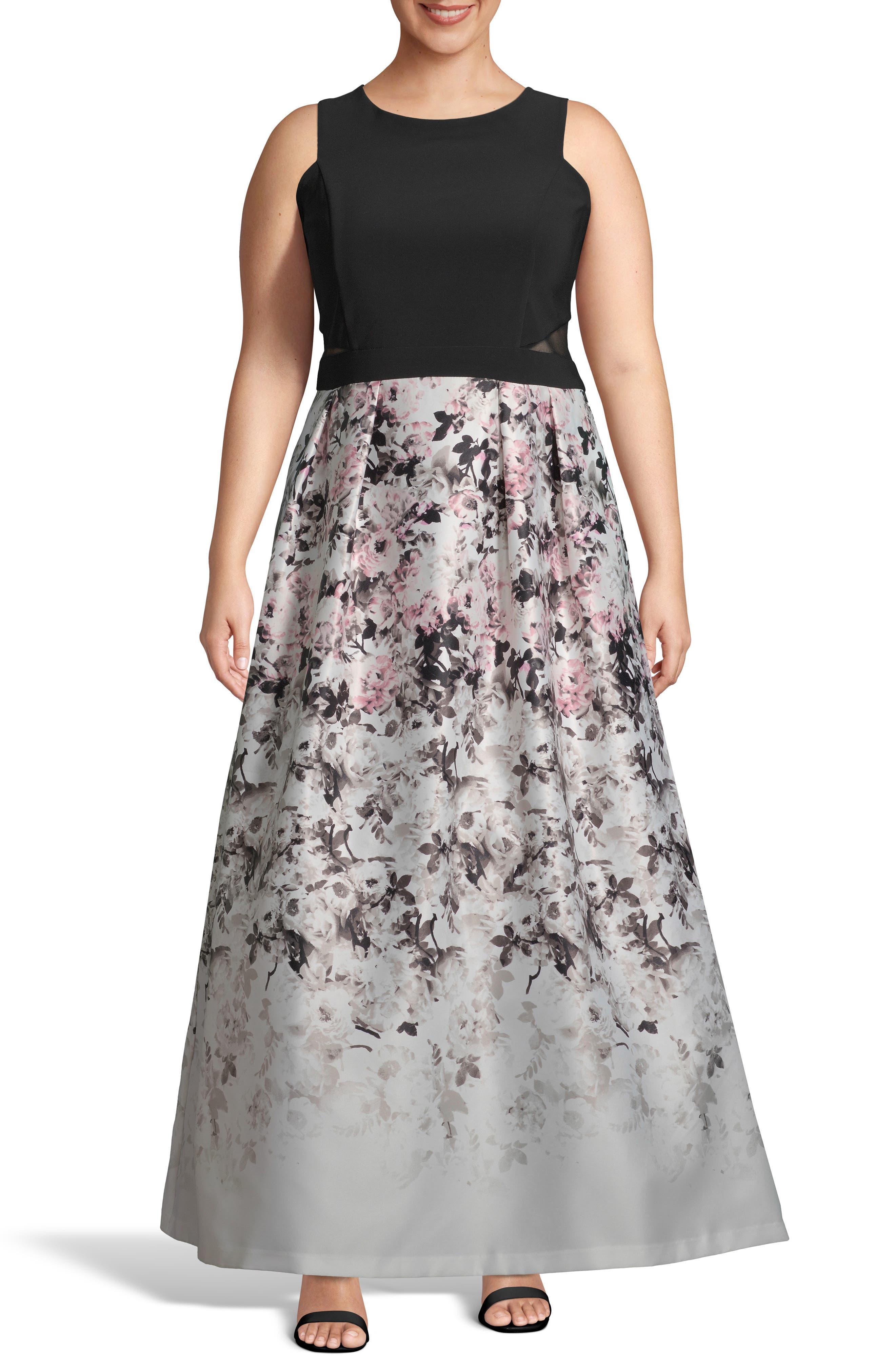 Plus Size Xscape Floral Print Skirt Gown, Pink