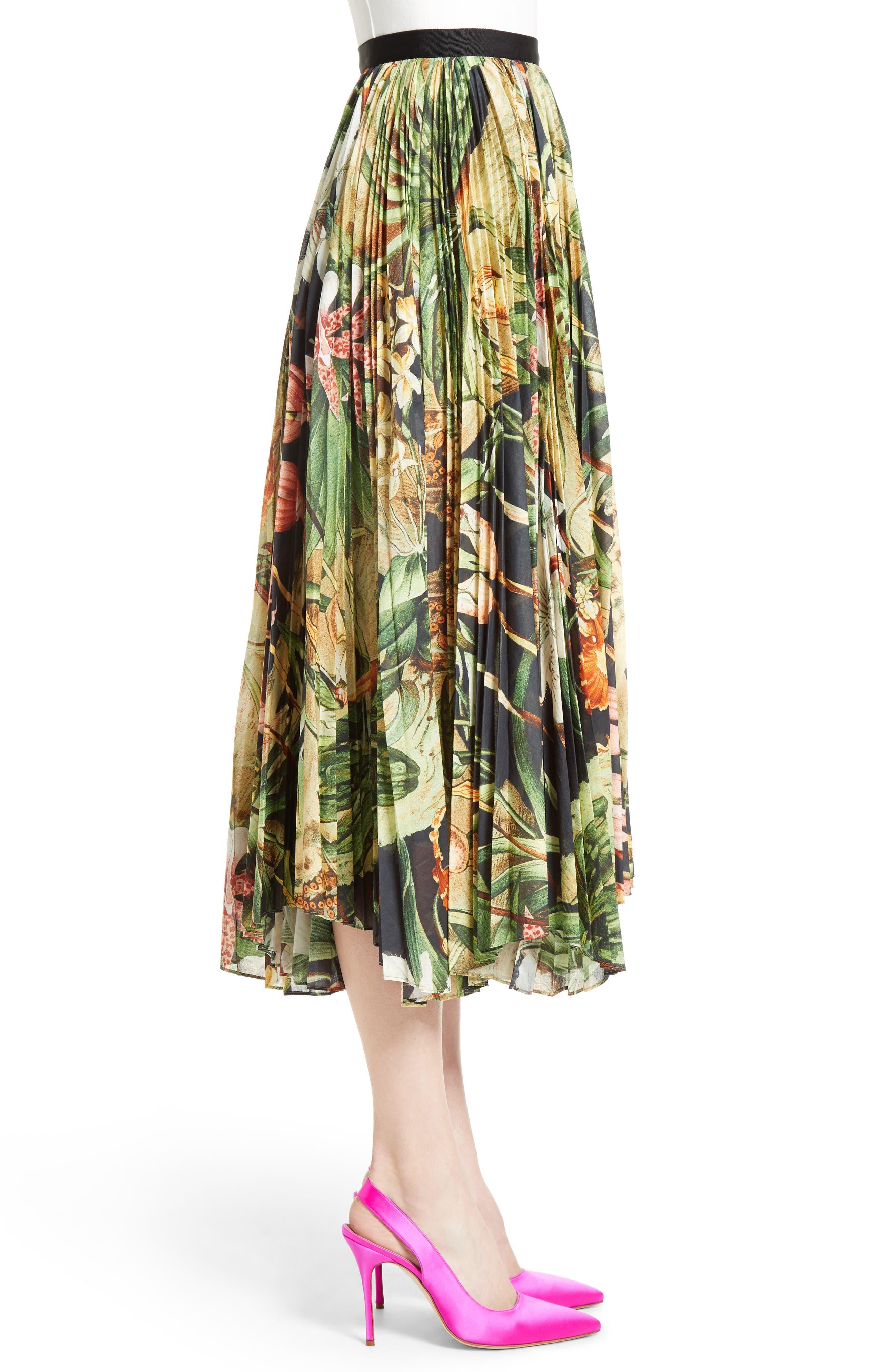 Print Cotton Voile Pleated Skirt,                             Alternate thumbnail 3, color,                             001