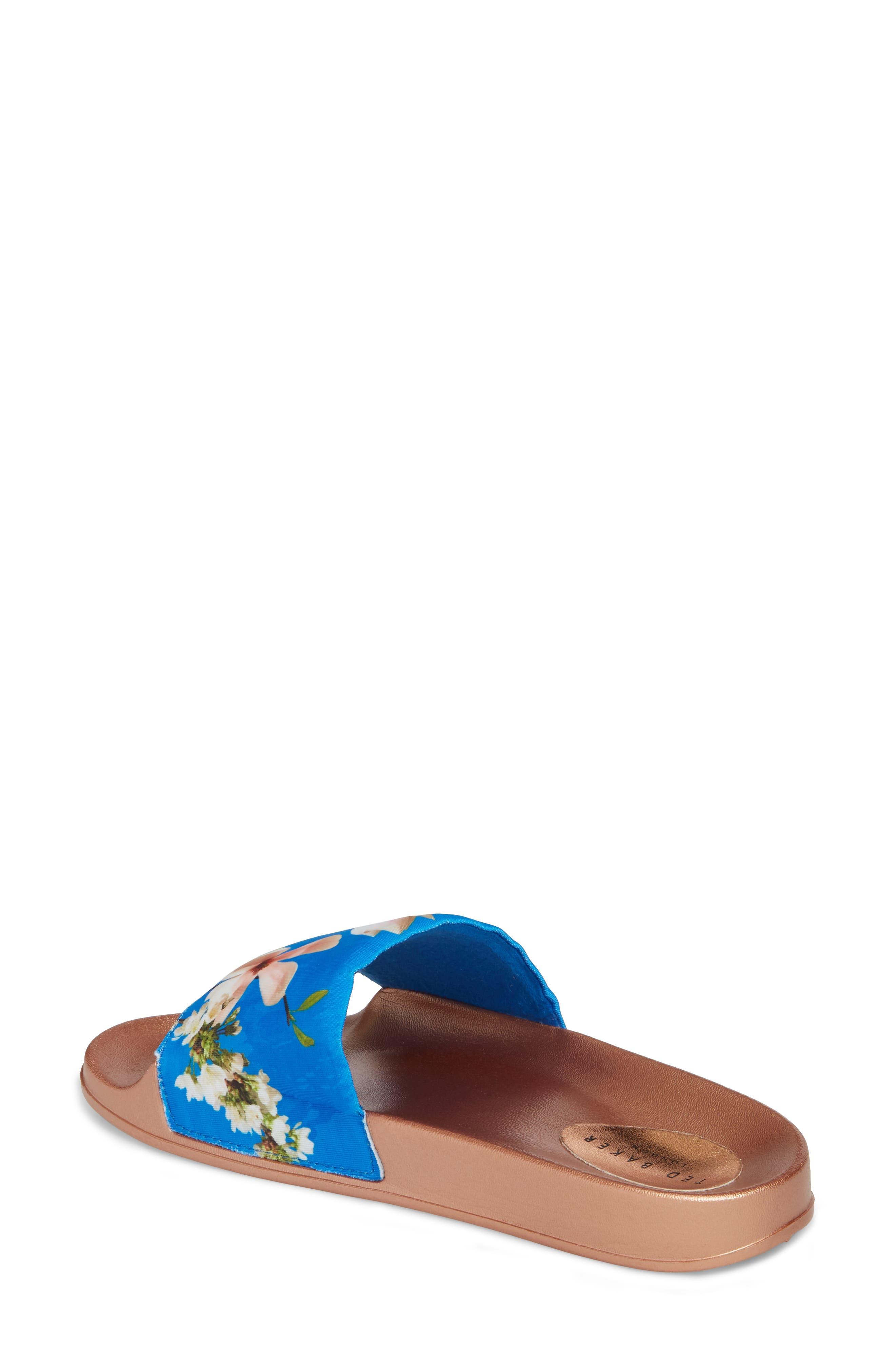 Avelinn Slide Sandal,                             Alternate thumbnail 2, color,                             BLUE FABRIC