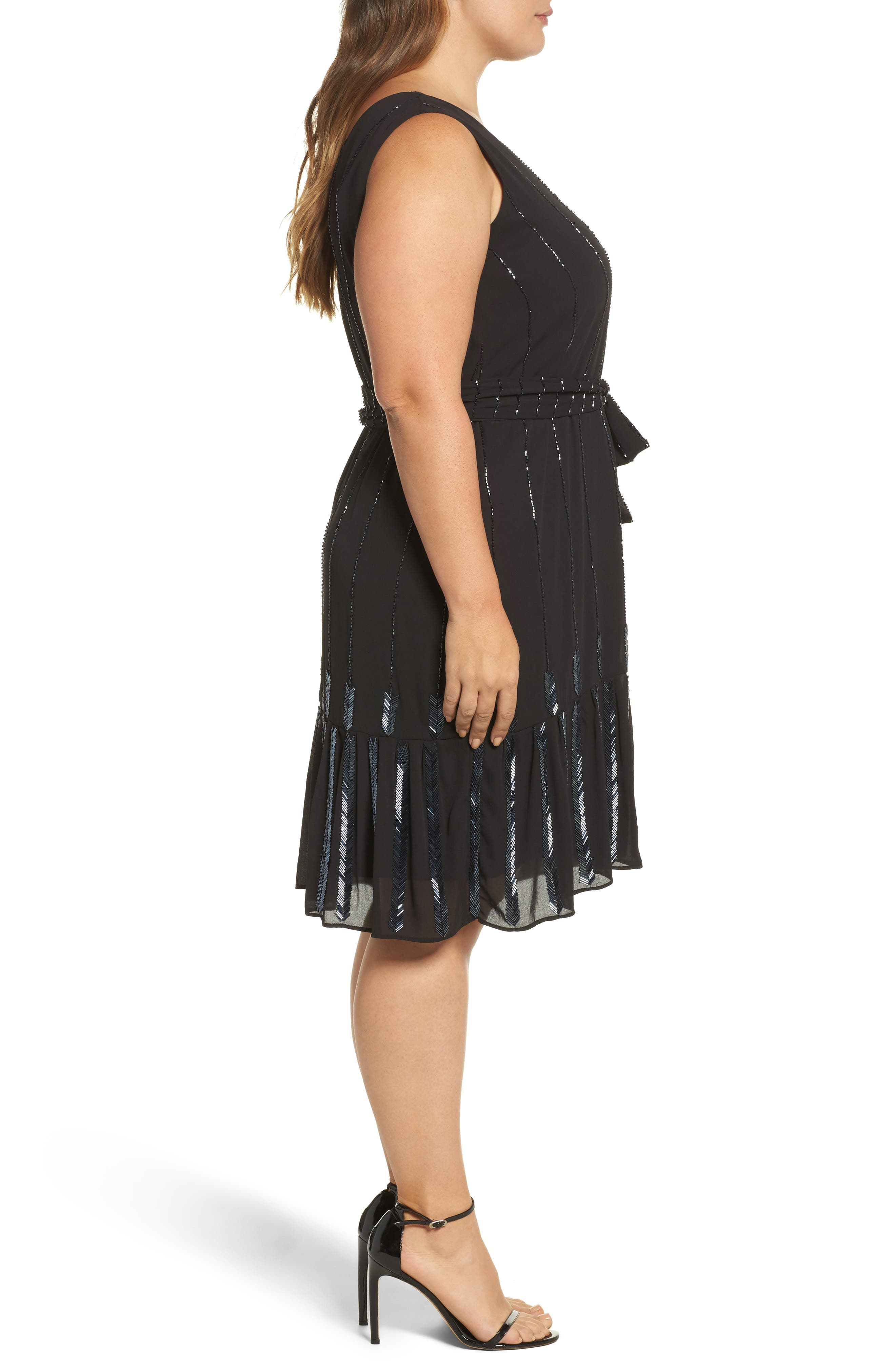 Beaded A-Line Dress,                             Alternate thumbnail 3, color,                             001