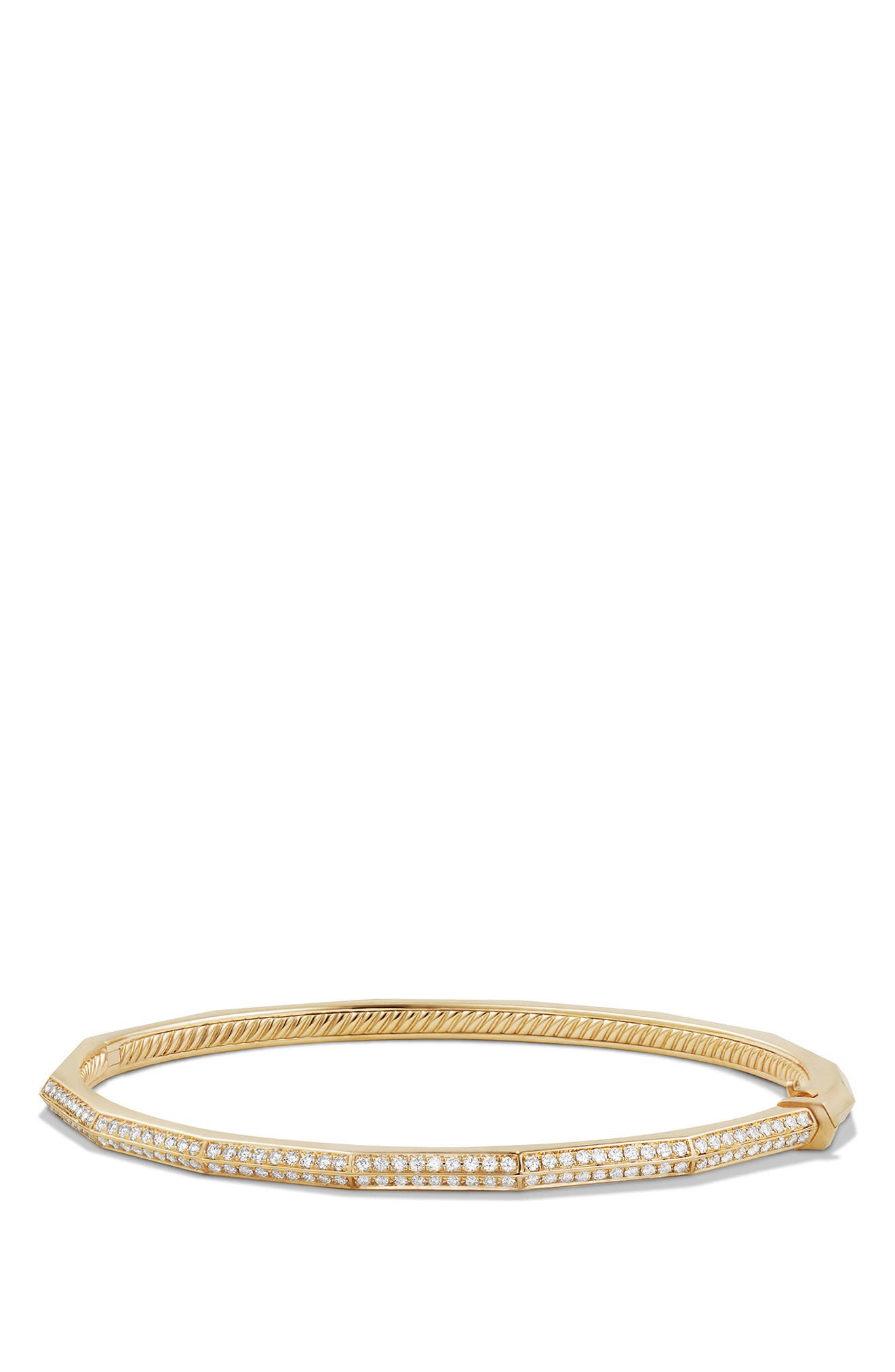 Stax Single-Row Faceted 18K Gold Bracelet with Diamonds, 3mm,                         Main,                         color, YELLOW GOLD