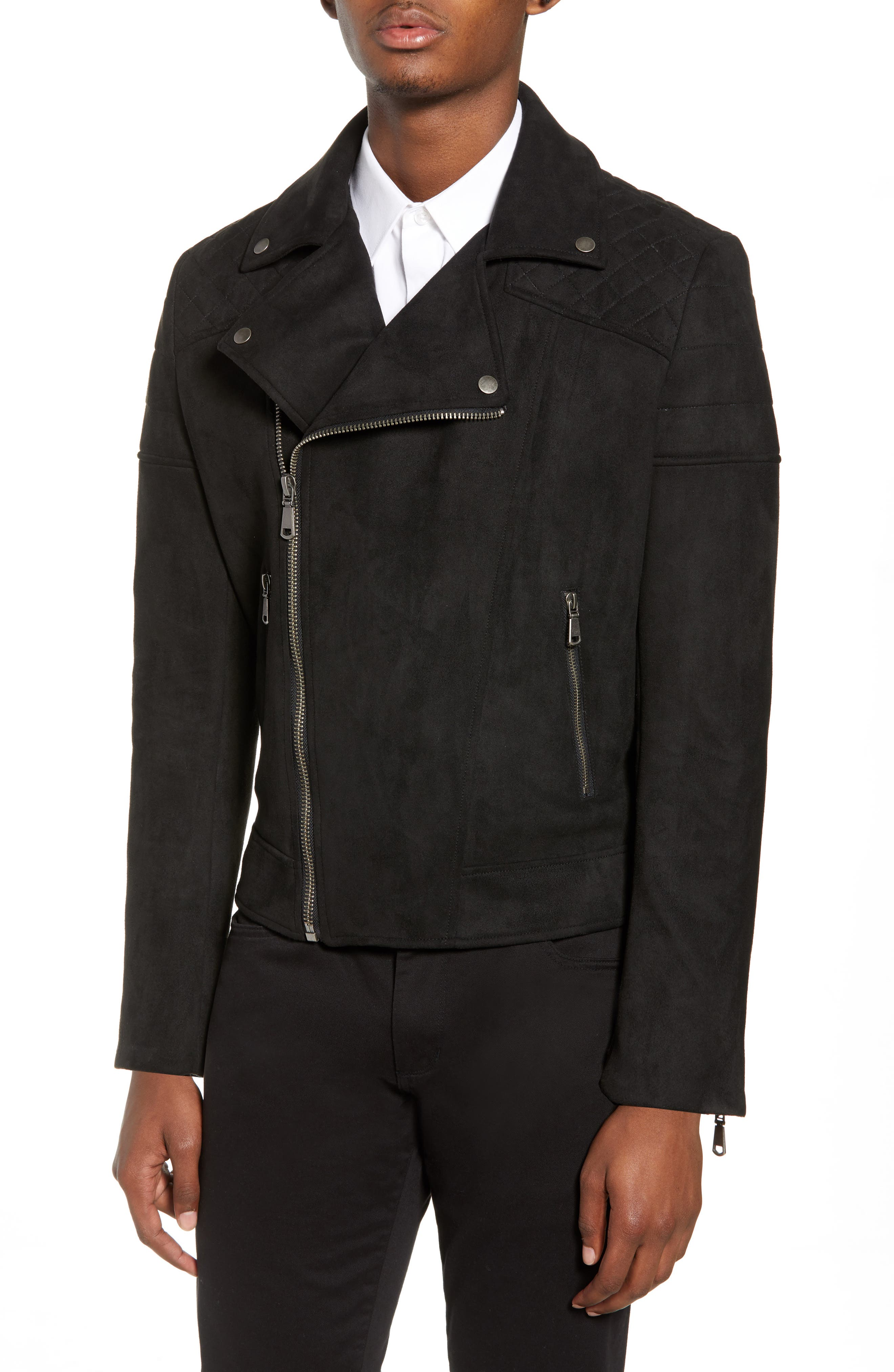 Faux Suede Biker Jacket,                             Alternate thumbnail 4, color,                             BLACK