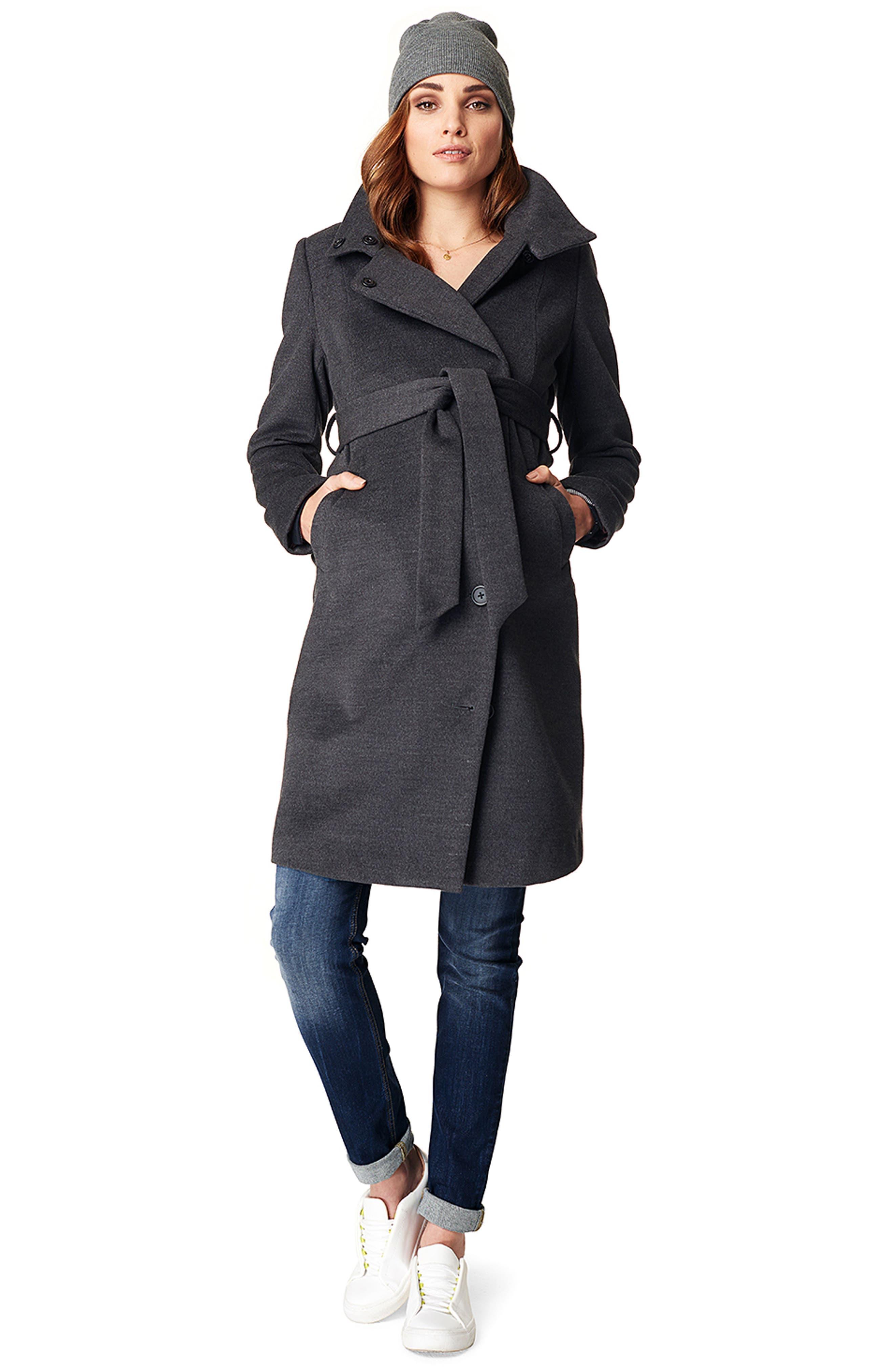 Ilena 2 Maternity Coat,                             Alternate thumbnail 5, color,                             BLACK MELANGE