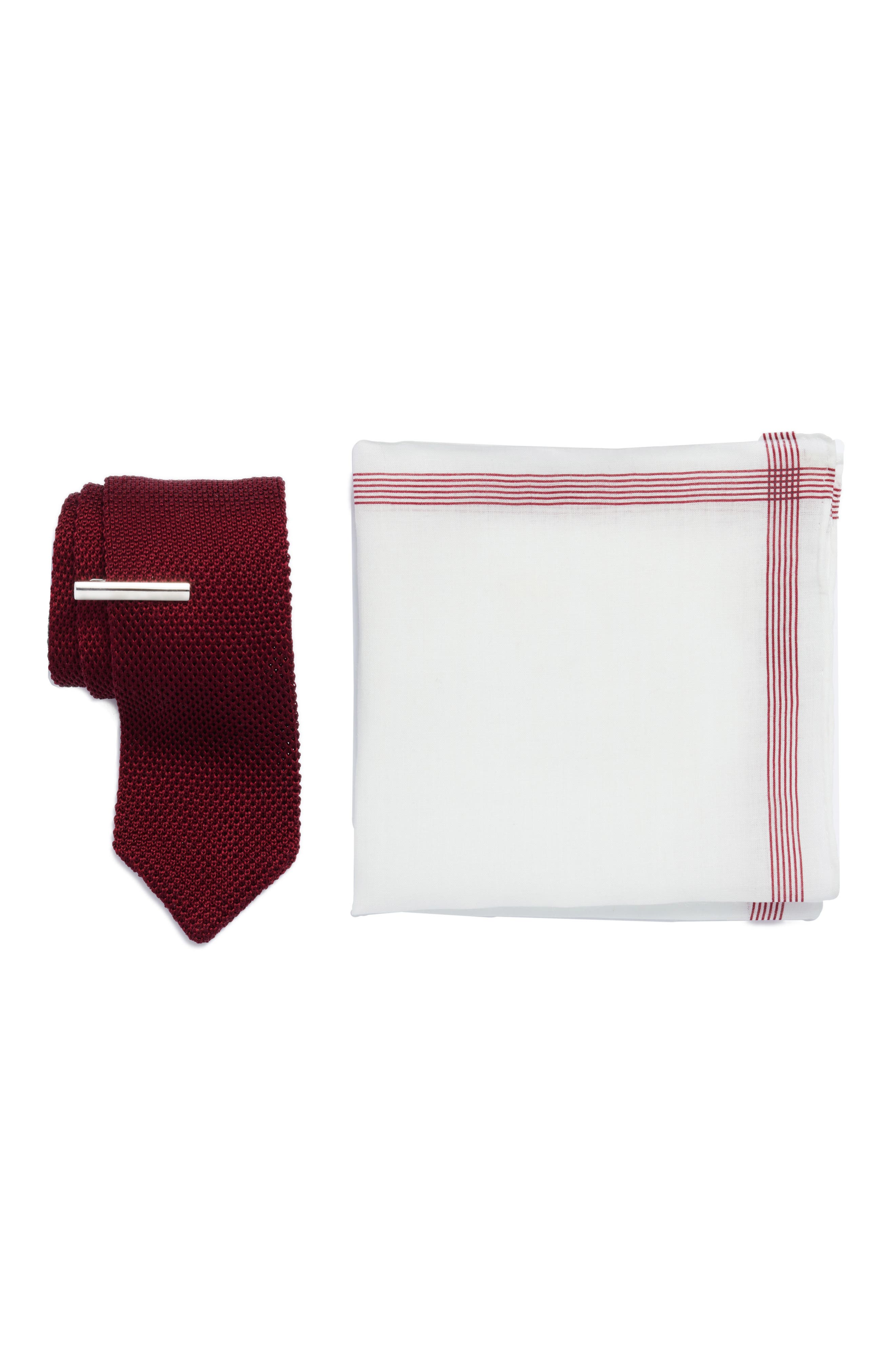 Pointed Tip 3-Piece Knit Tie Style Box,                         Main,                         color, BURGUNDY