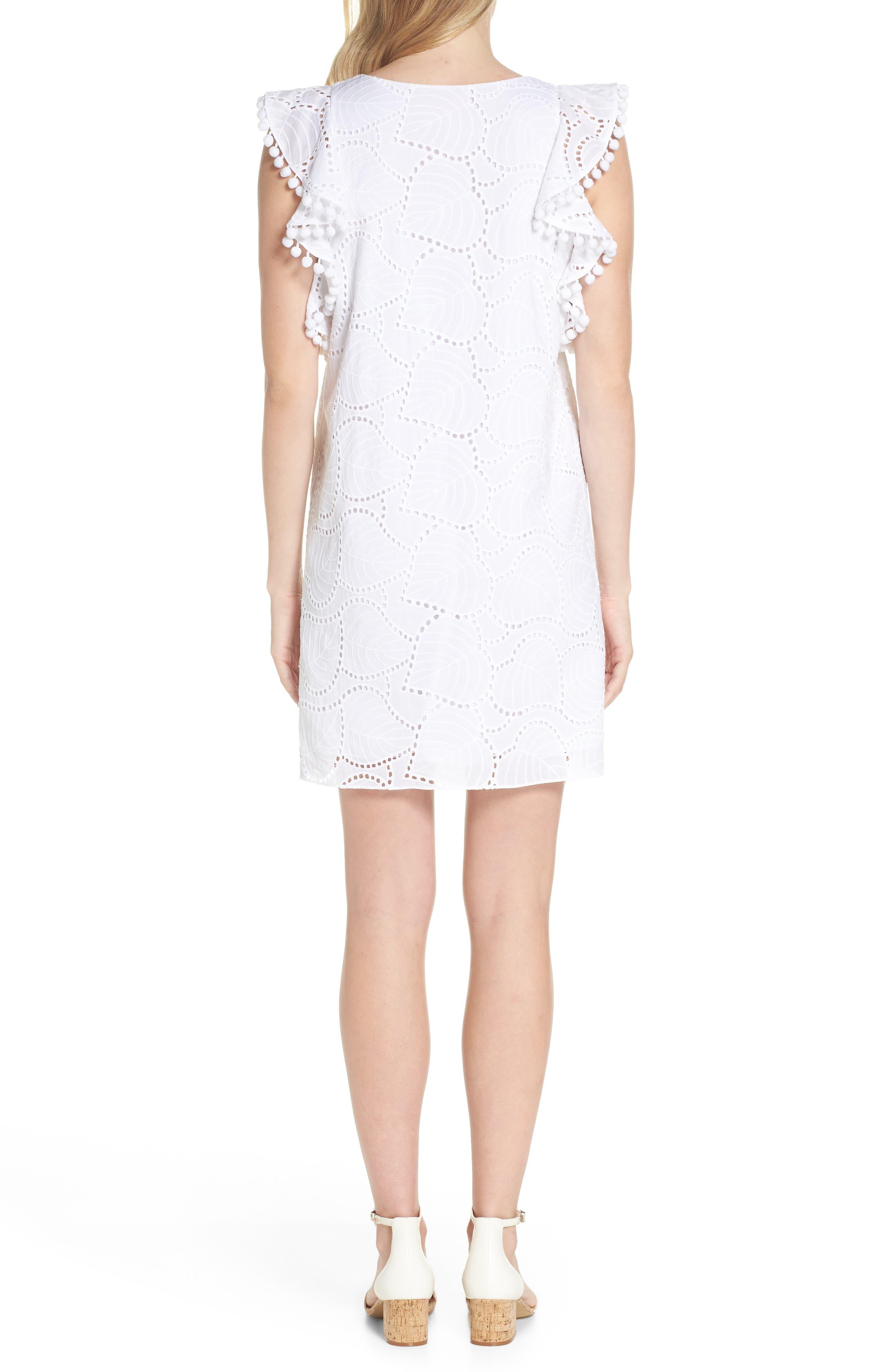 Astara Cotton Eyelet Dress,                             Alternate thumbnail 2, color,                             RESORT WHITE LEAF EYELET