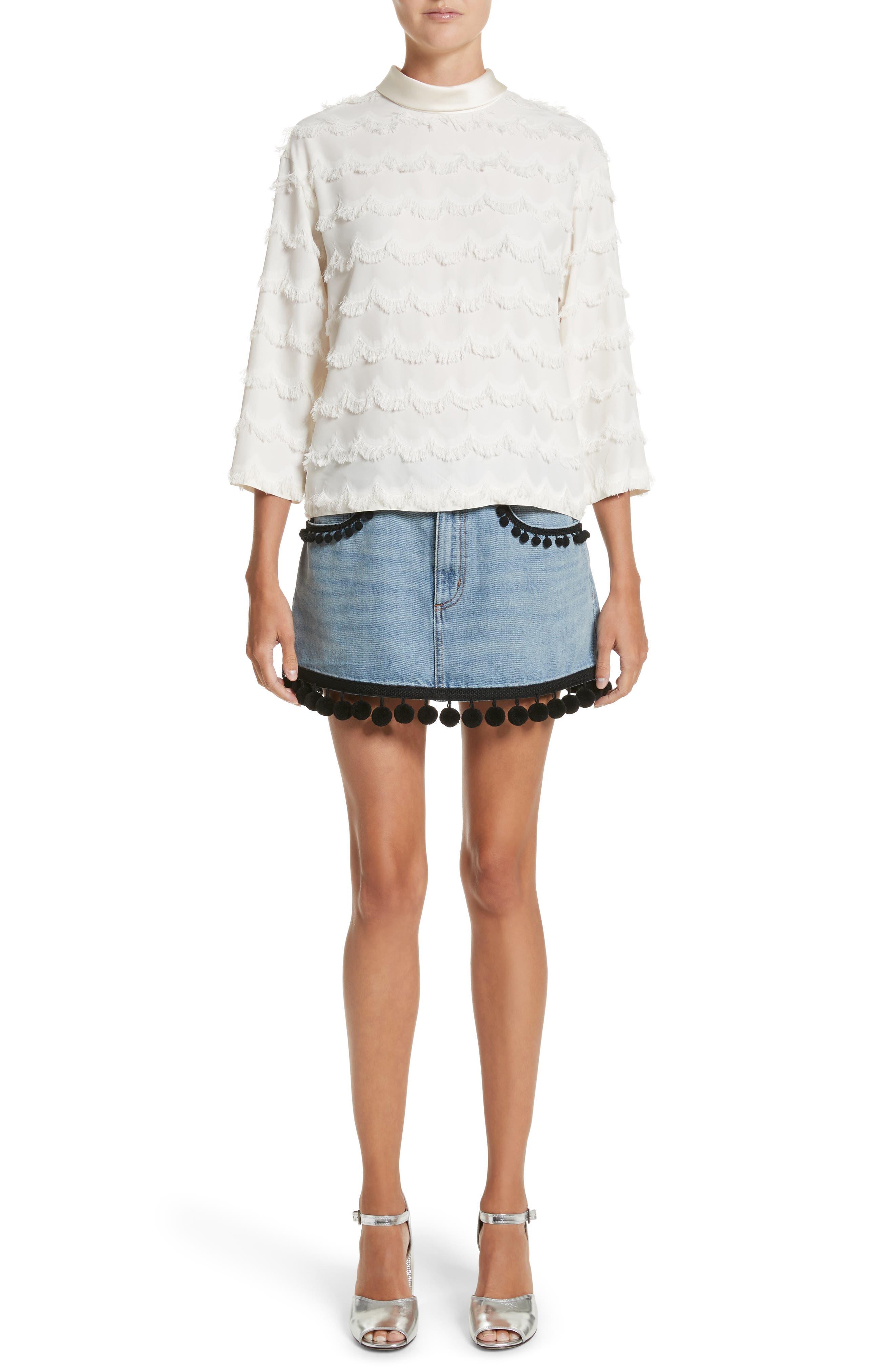 Pompom Trim Denim Miniskirt,                             Alternate thumbnail 7, color,                             489