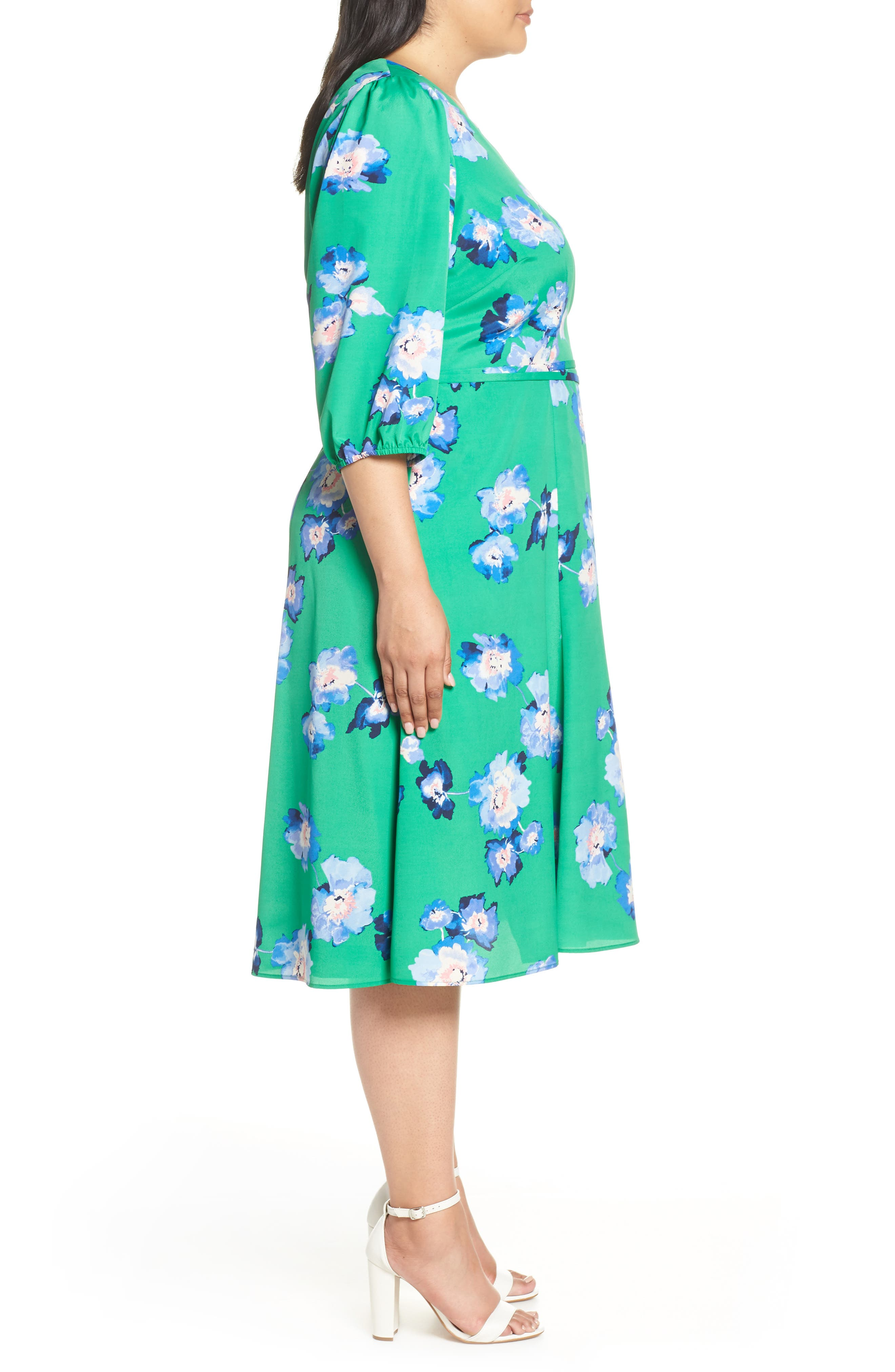 Blouson Sleeve Wrap Midi Dress,                             Alternate thumbnail 3, color,                             GREEN