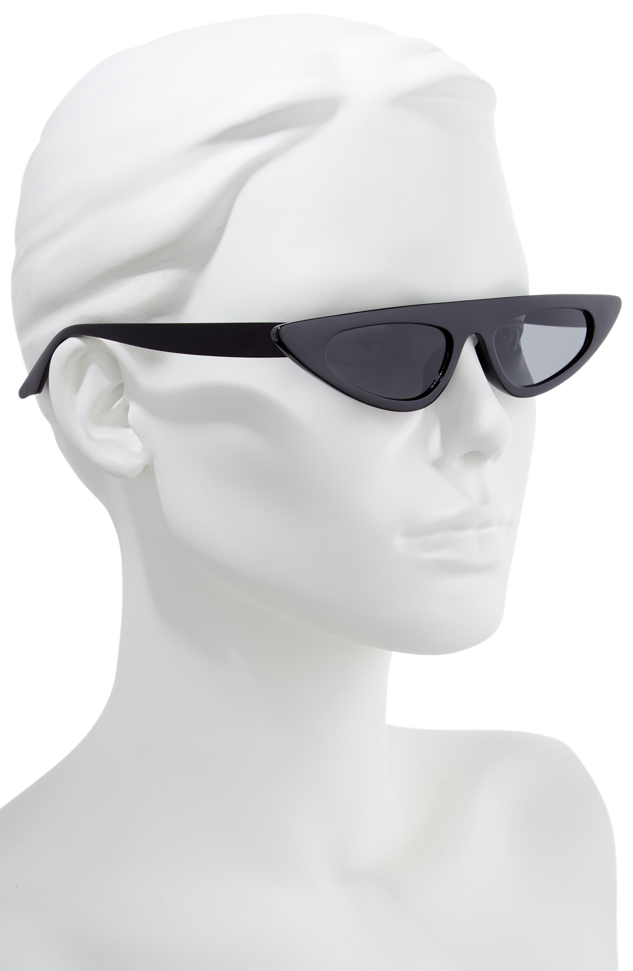 50mm Flat Top Cat Eye Sunglasses,                             Alternate thumbnail 2, color,                             BLACK