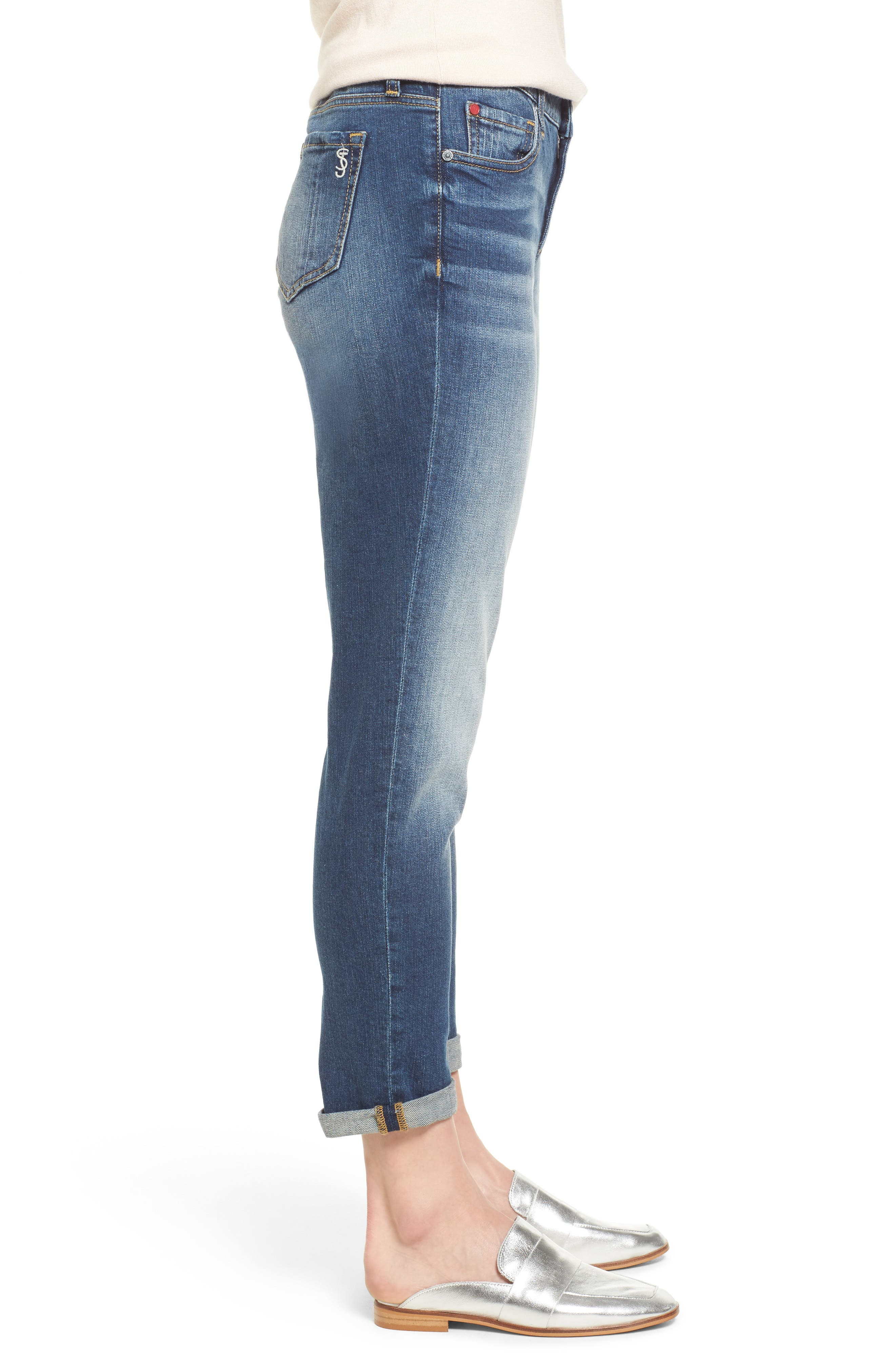 SLINK JEANS,                             Rolled Boyfriend Jeans,                             Alternate thumbnail 3, color,                             VAL