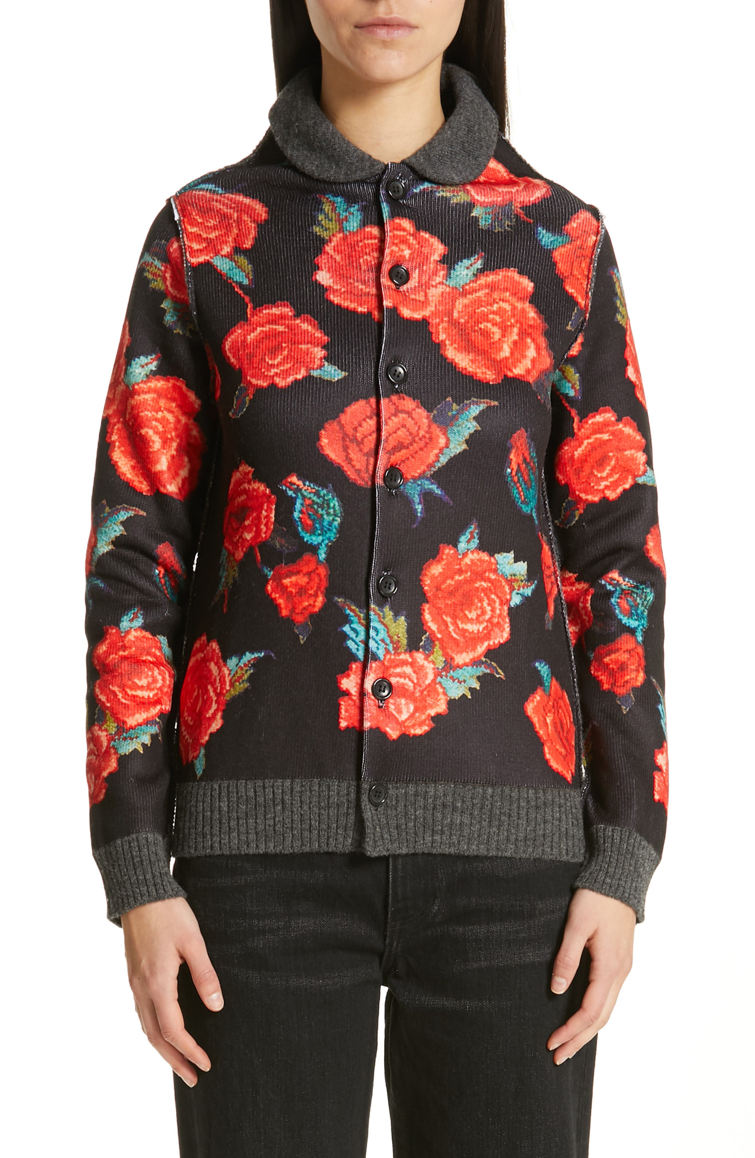 TRICOT COMME DES GARCONS Rose Print Cardigan in Black X Top Gray