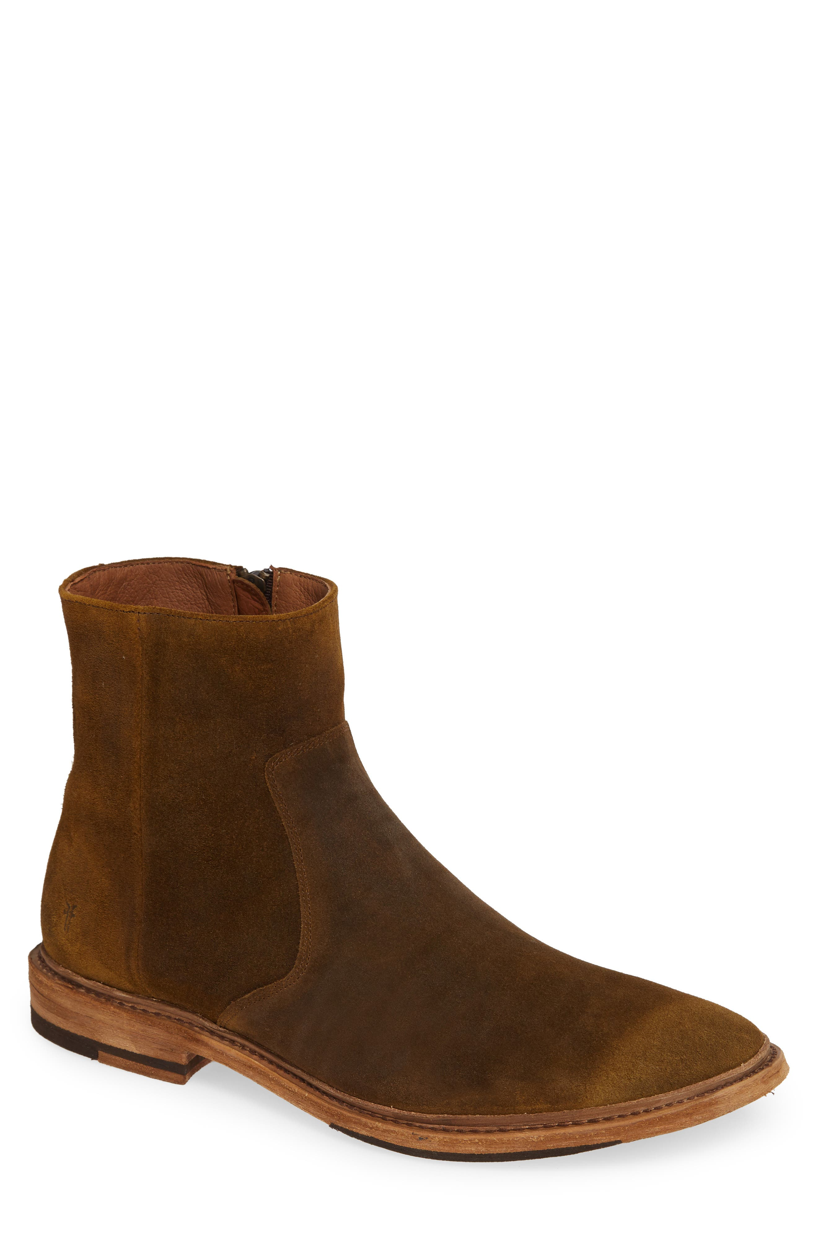 Paul Zip Boot,                         Main,                         color, TAN SUEDE