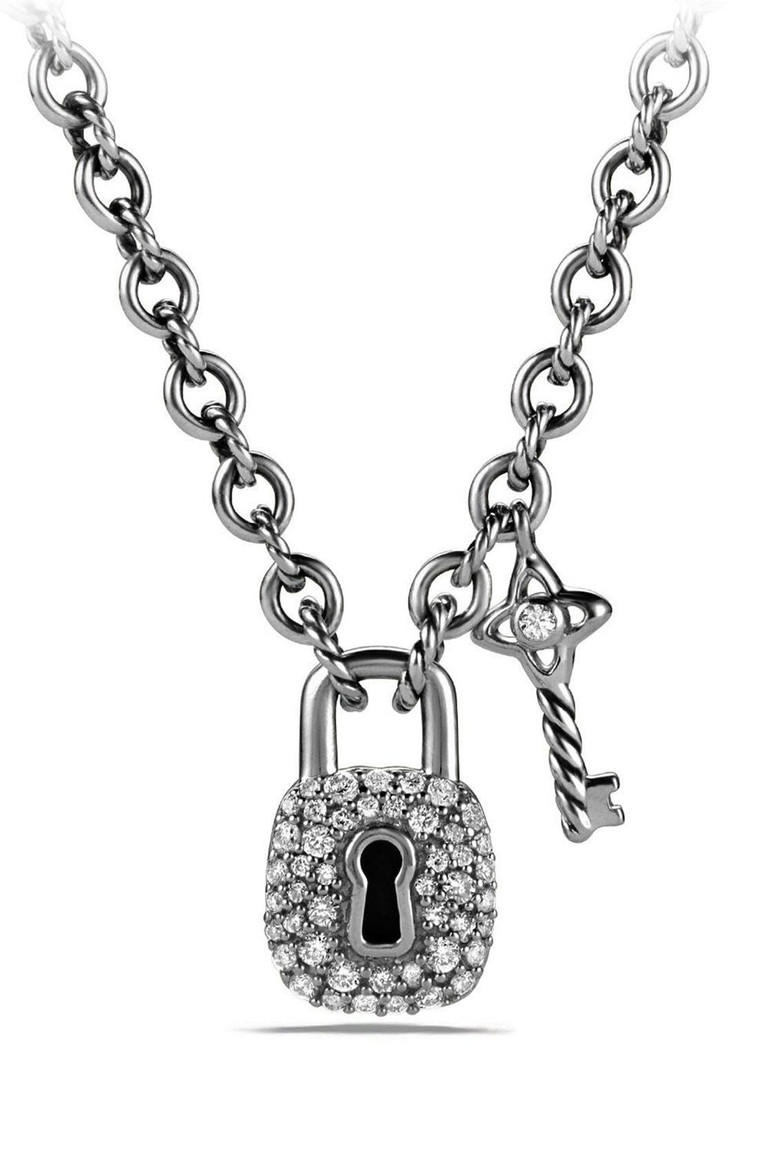 'Cable Collectibles<sup>®</sup>' Lock and Key Charm Necklace with Diamonds,                             Main thumbnail 1, color,                             SILVER