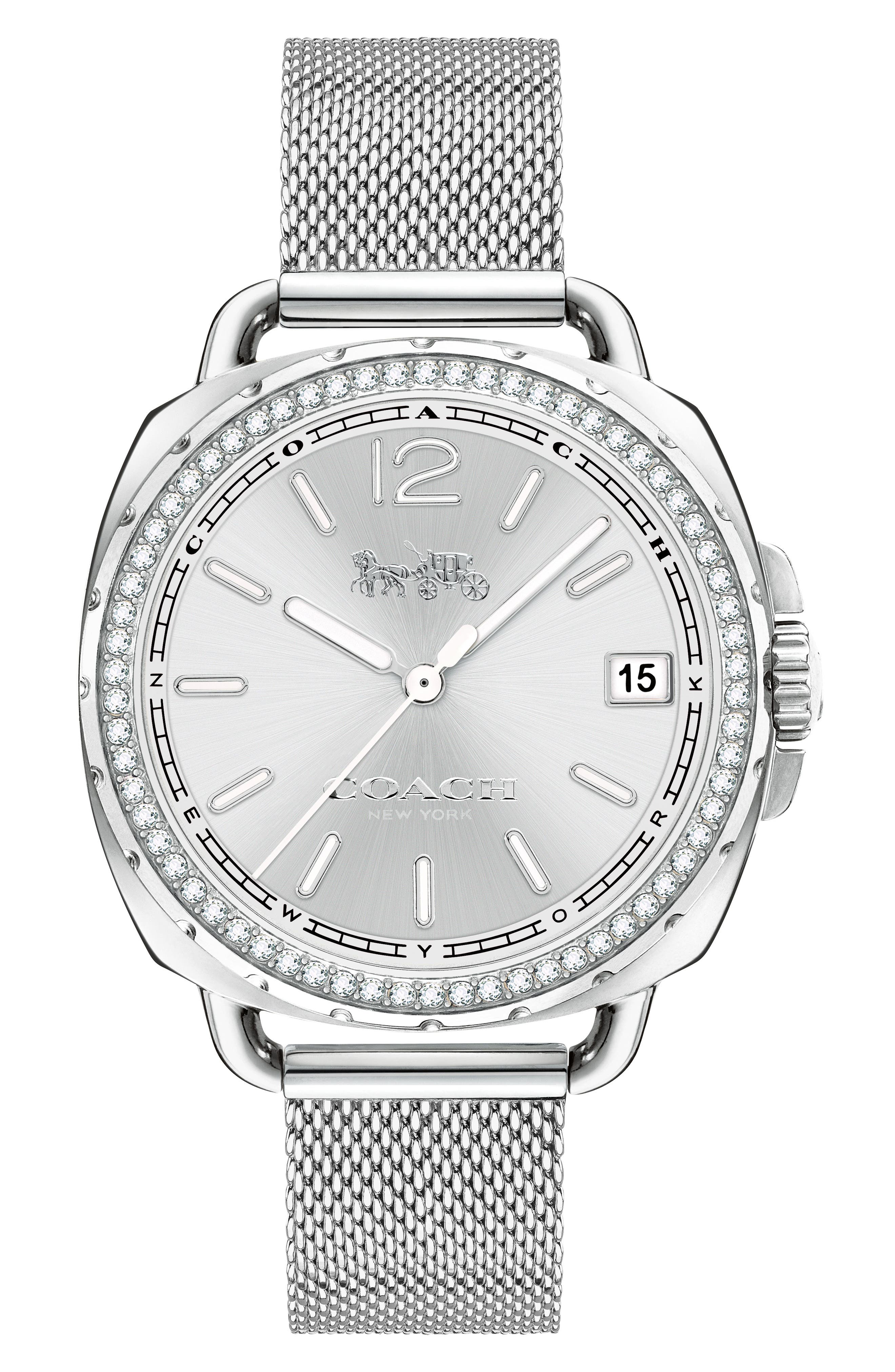 Tatum Crystal Mesh Strap Watch, 35mm,                             Main thumbnail 1, color,                             040