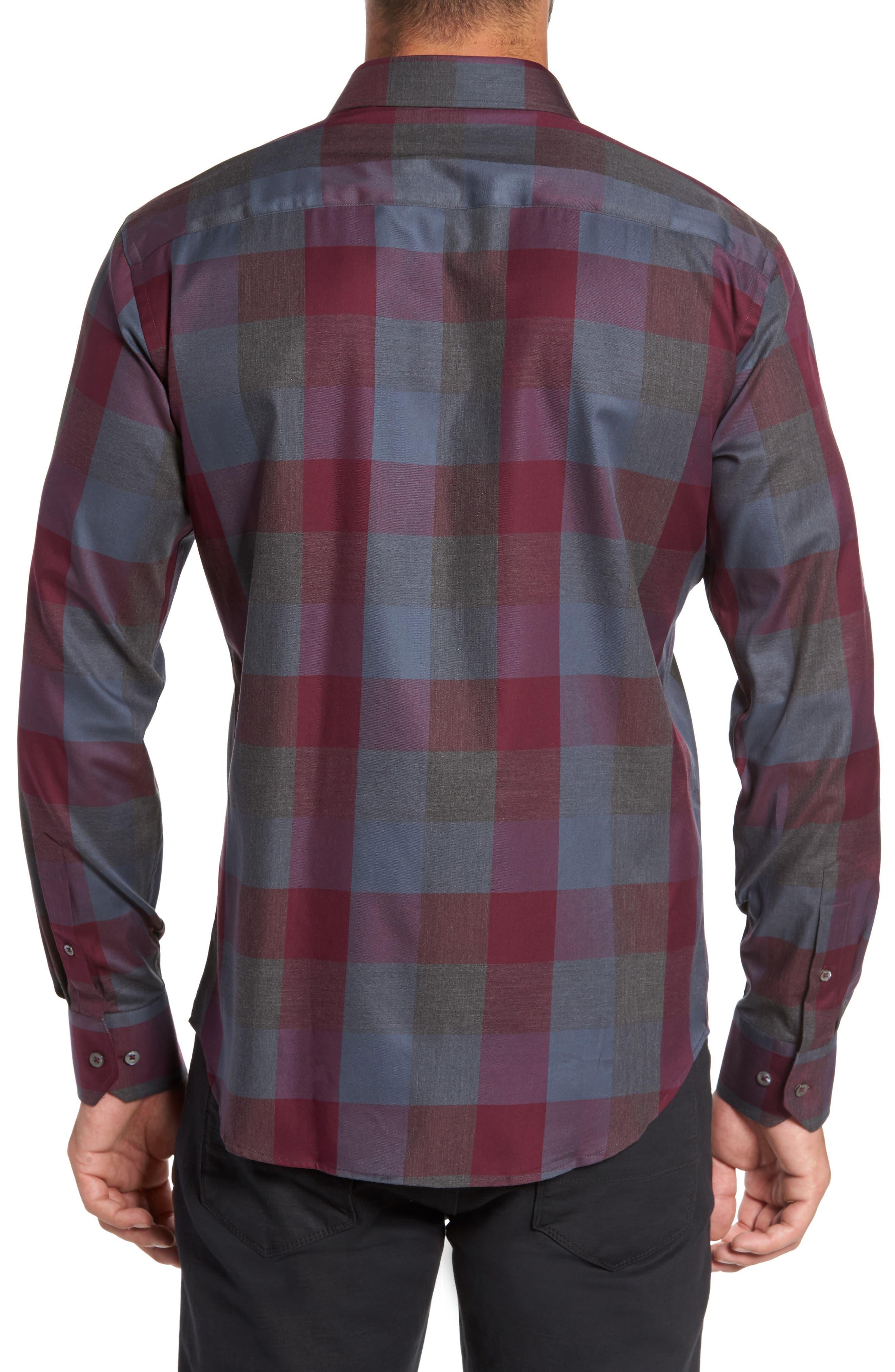 Shaped Fit Plaid Sport Shirt,                             Alternate thumbnail 2, color,                             610
