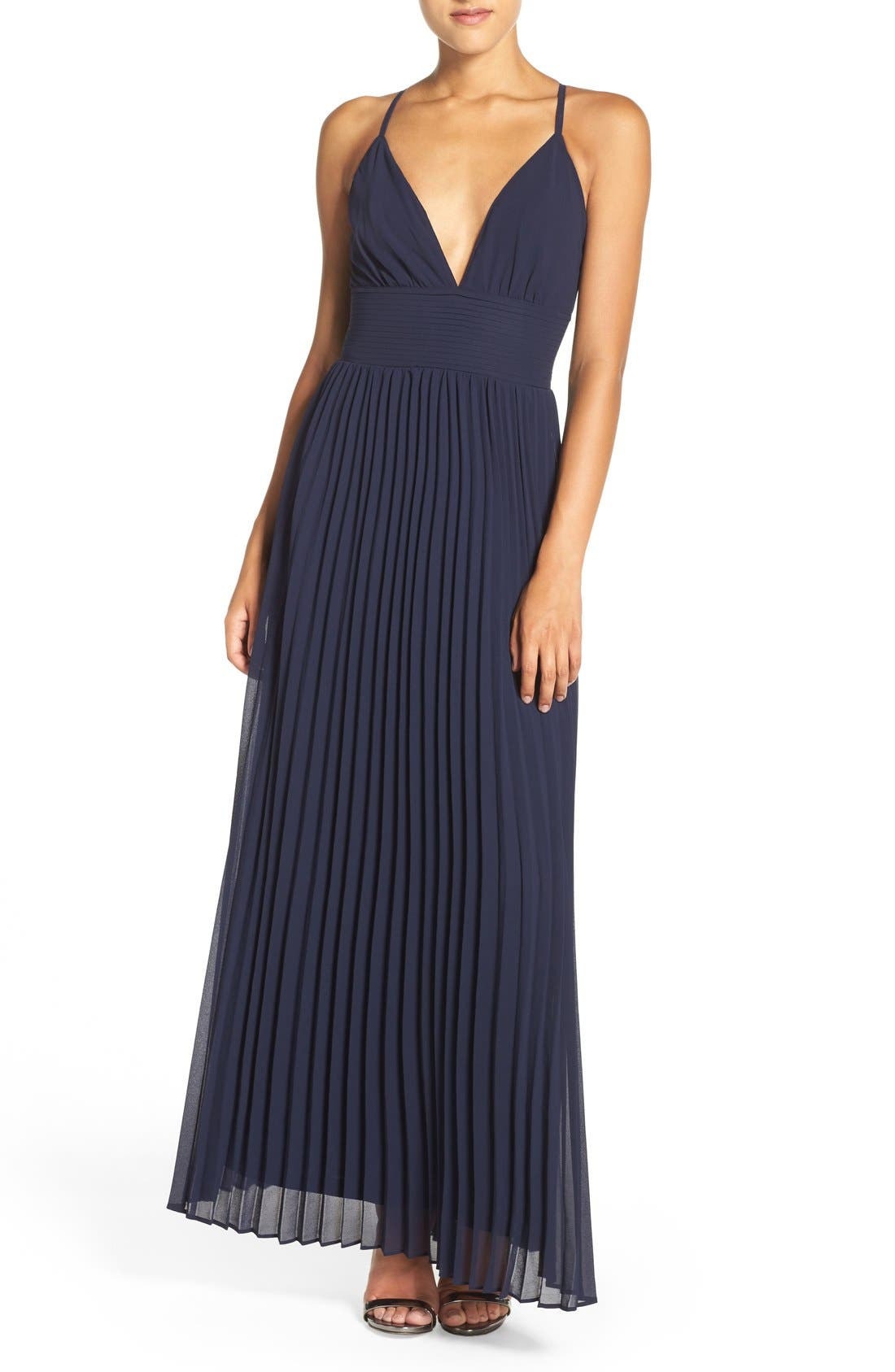 Plunging V-Neck Pleat Georgette Gown,                             Main thumbnail 1, color,