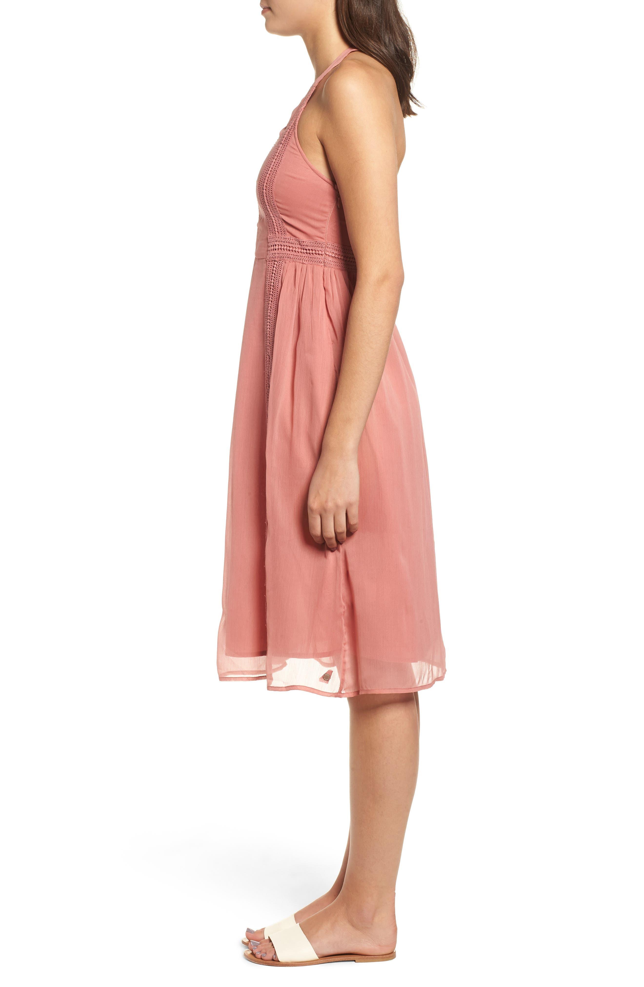 Blurred Landscape Dress,                             Alternate thumbnail 3, color,                             WITHERED ROSE