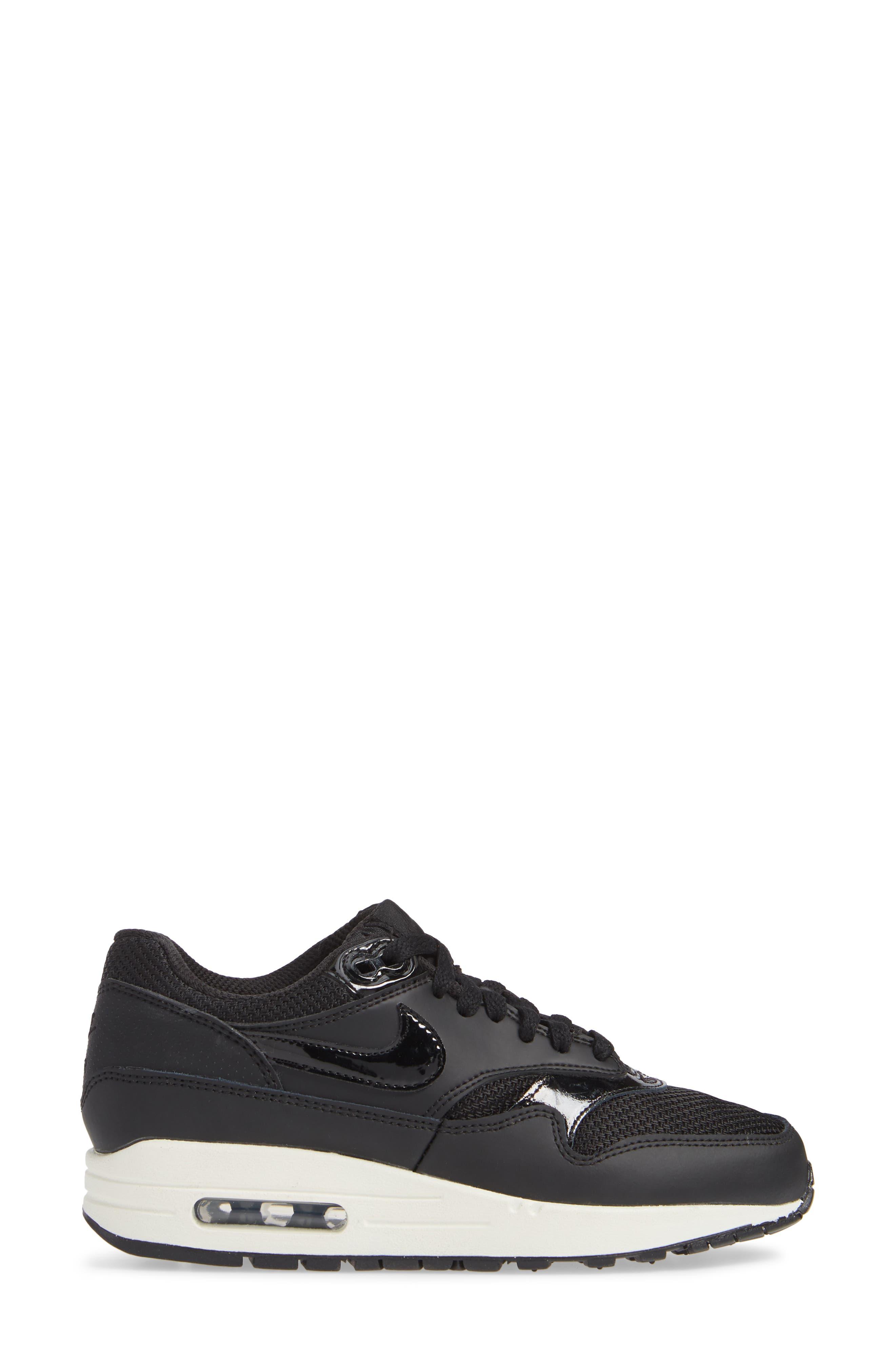 'Air Max 1 ND' Sneaker,                             Alternate thumbnail 3, color,                             BLACK/ BLACK-BLACK- WHITE