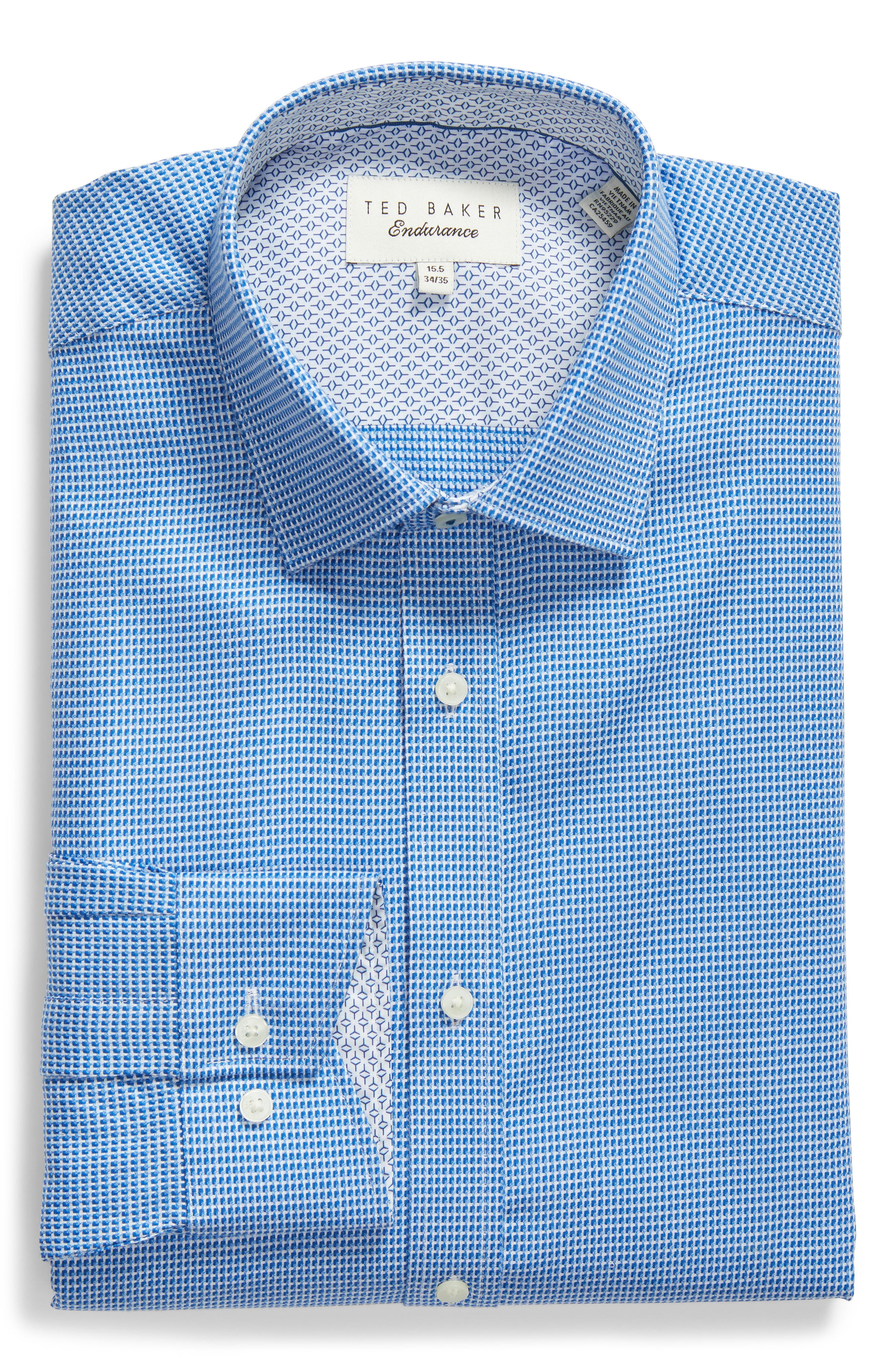 Phonbox Trim Fit Check Dress Shirt,                             Alternate thumbnail 5, color,                             BLUE