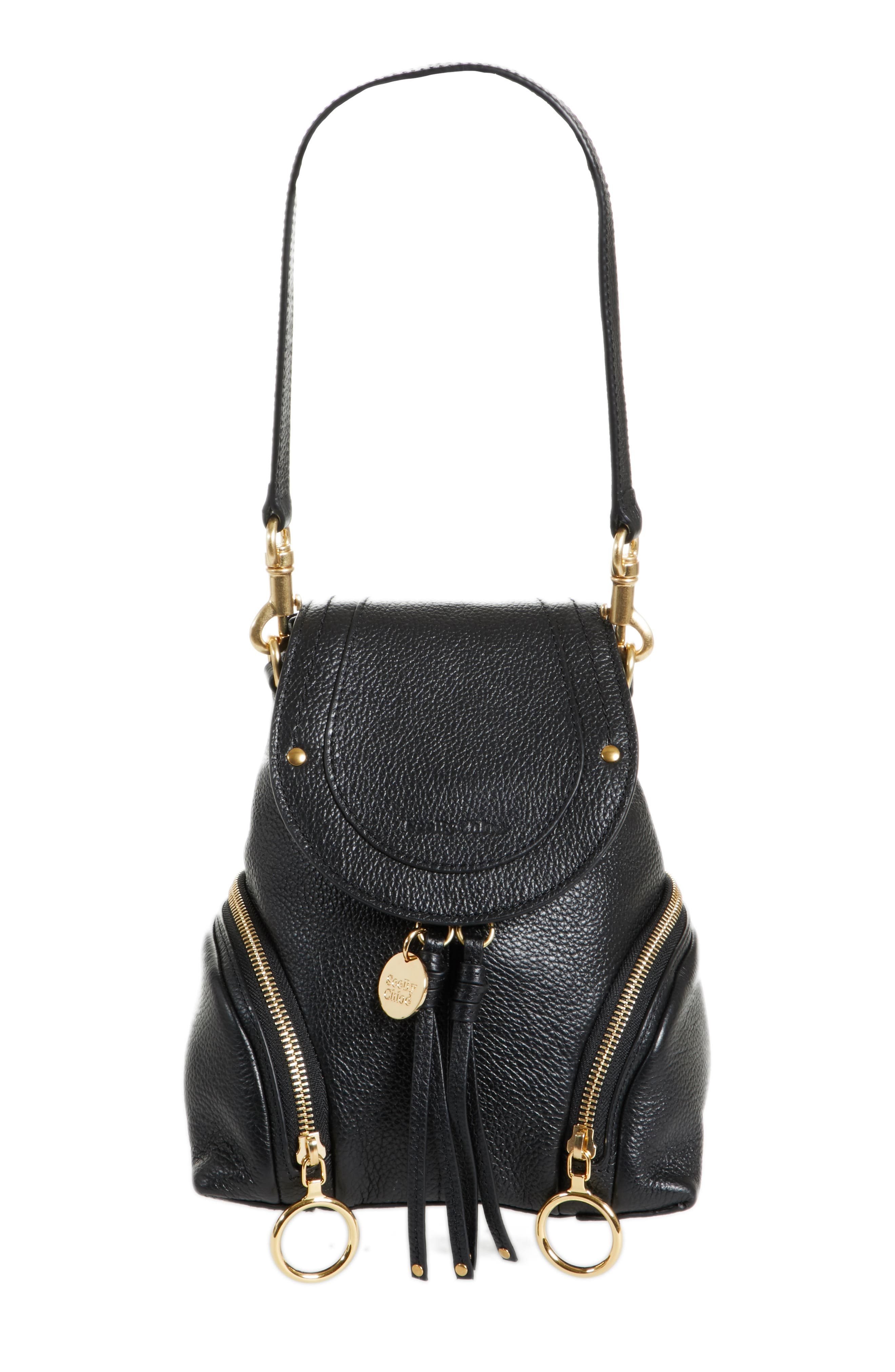 Small Olga Leather Backpack,                         Main,                         color,