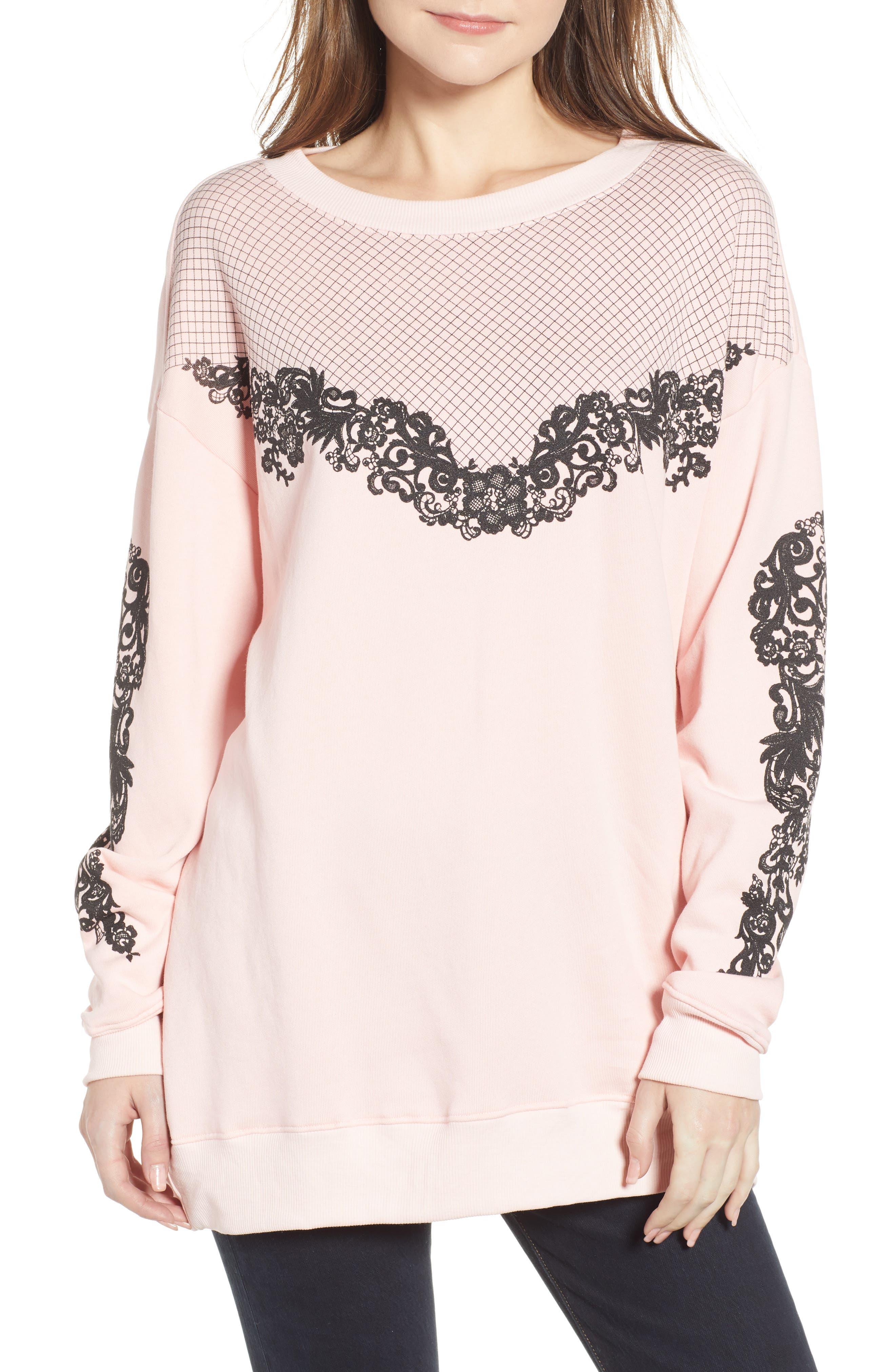 WILDFOX Chantilly Lace Roadtrip Sweatshirt in Romantic