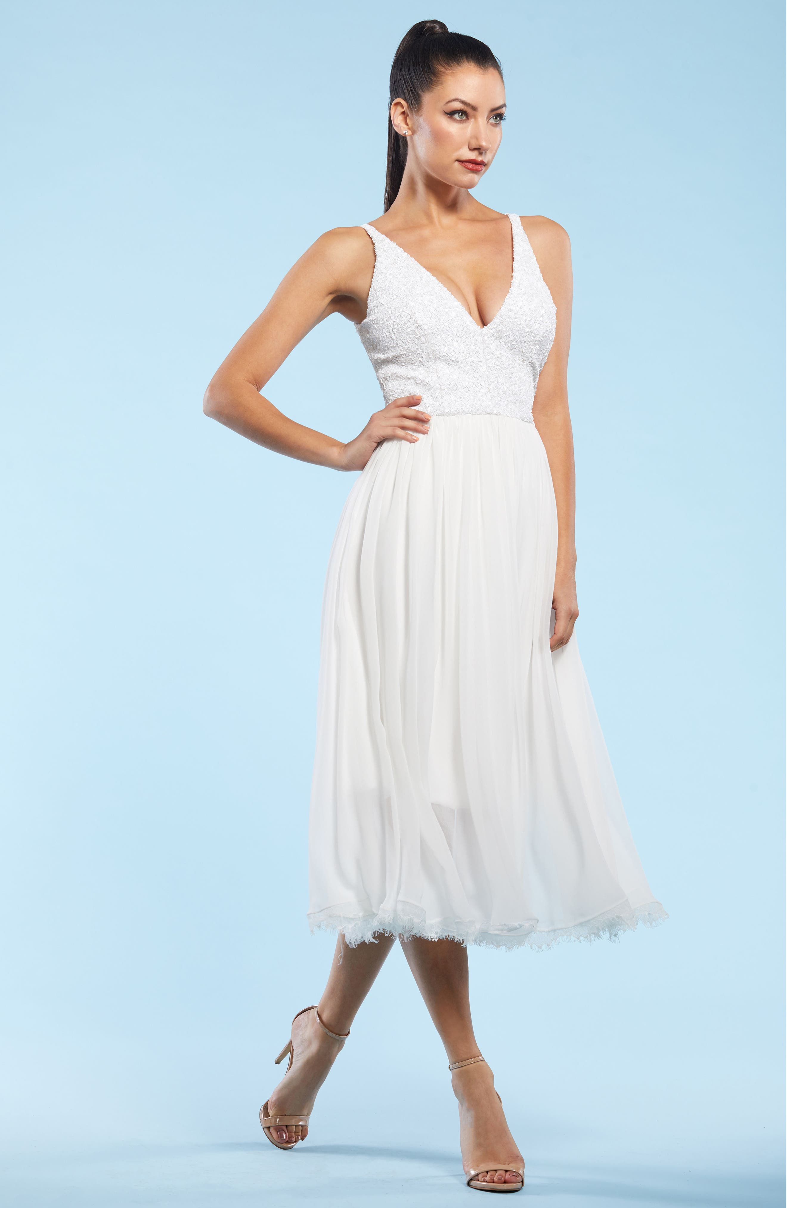 Tracy Plunging Sequin Bodice Tea Length Dress,                             Alternate thumbnail 5, color,                             008