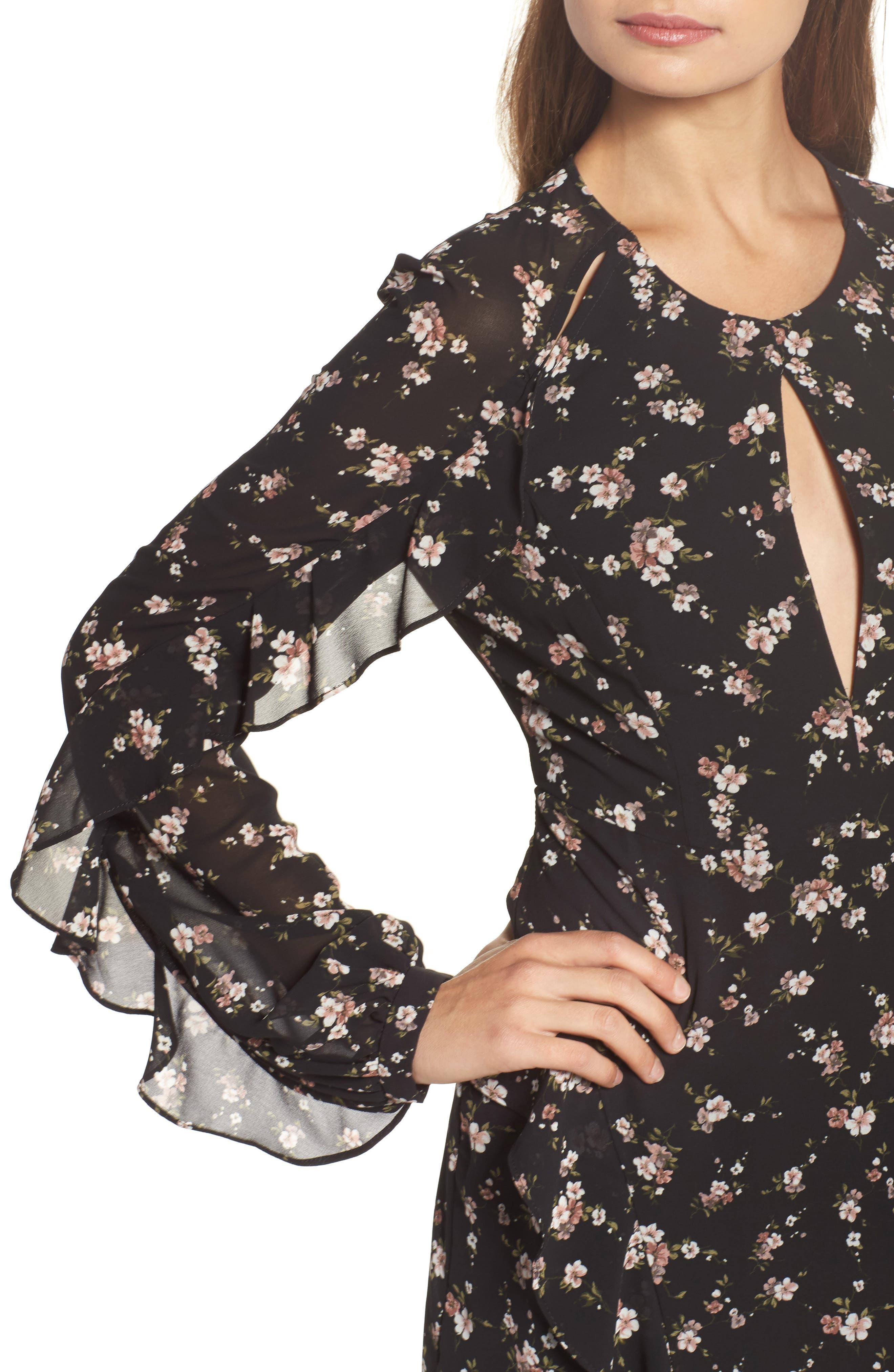 Natalia Midi Dress,                             Alternate thumbnail 4, color,                             005