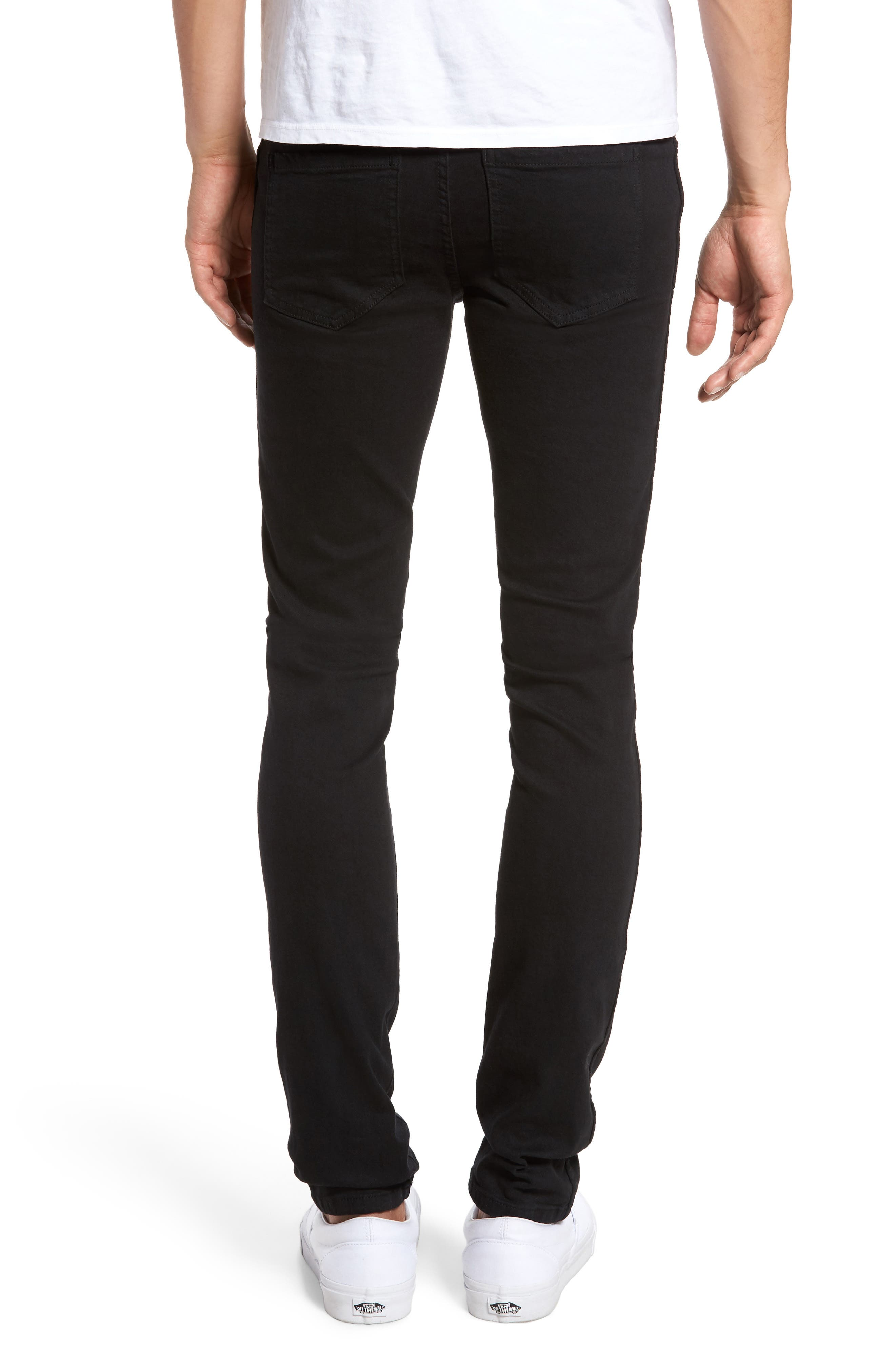 Snap Skinny Fit Jeans,                             Alternate thumbnail 2, color,                             BLACK