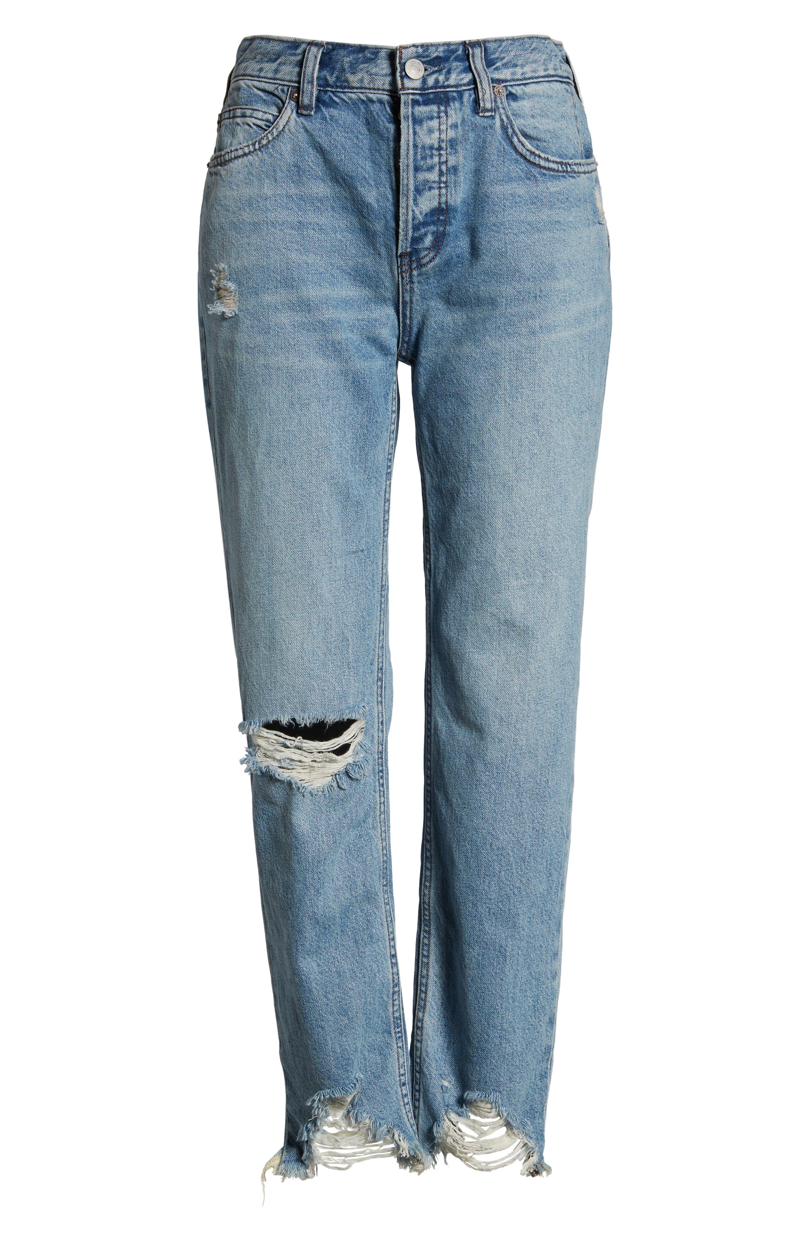 Chewed Up Straight Leg Jeans,                             Alternate thumbnail 4, color,                             INDIGO BLUE