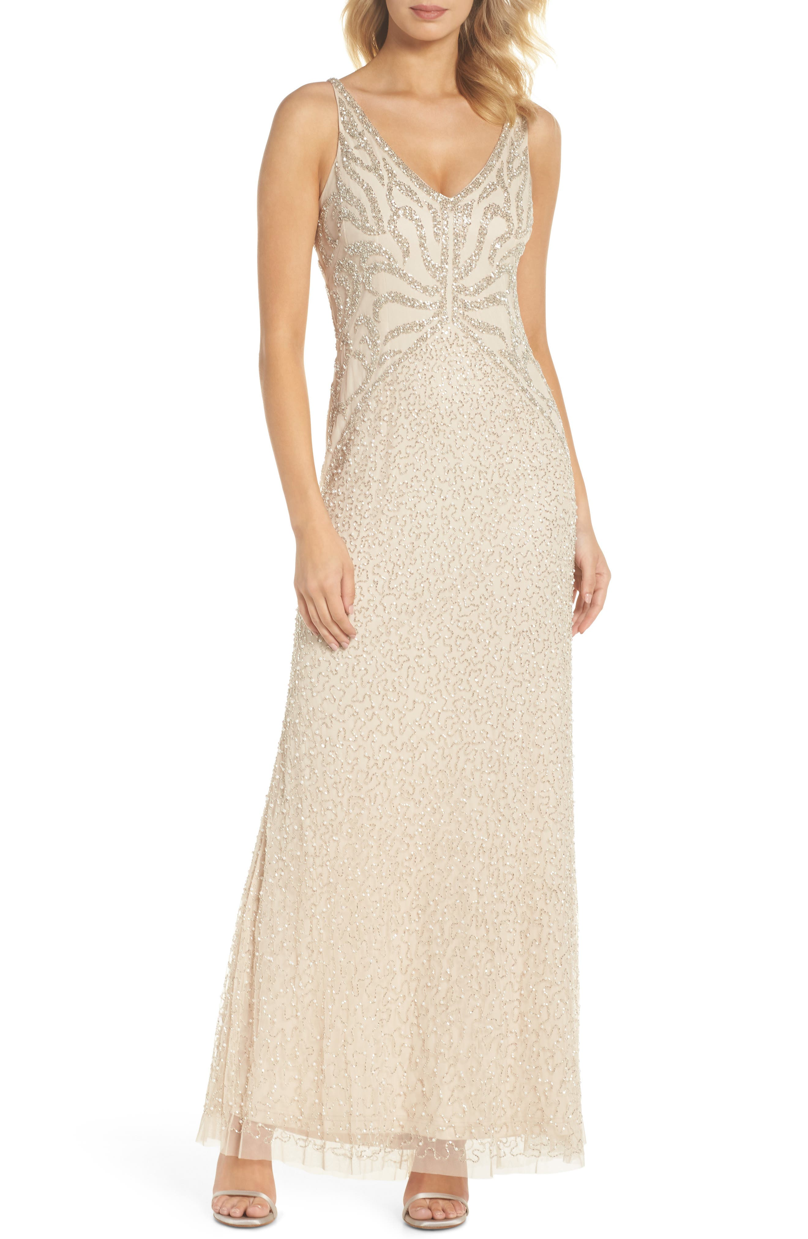 Beaded V-Neck Gown,                         Main,                         color, 250
