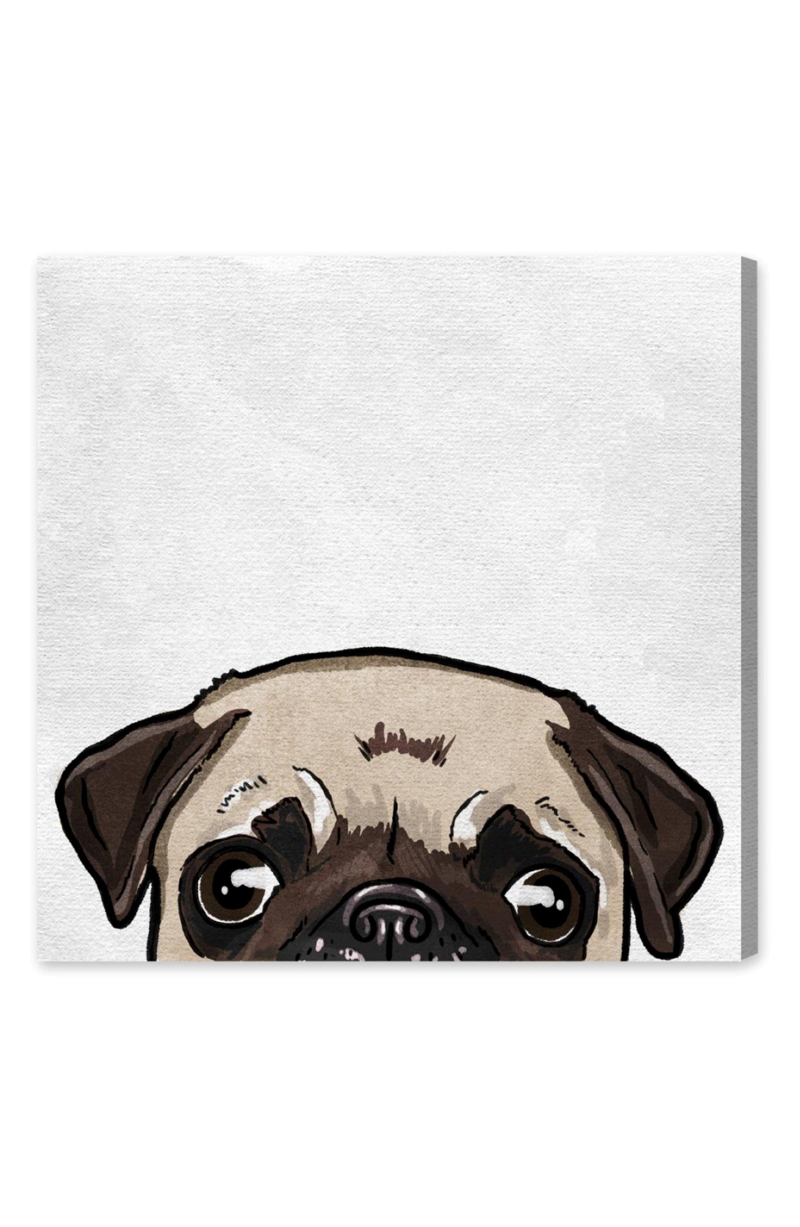 Big Eyed Gentleman Canvas Wall Art,                             Main thumbnail 1, color,                             WHITE