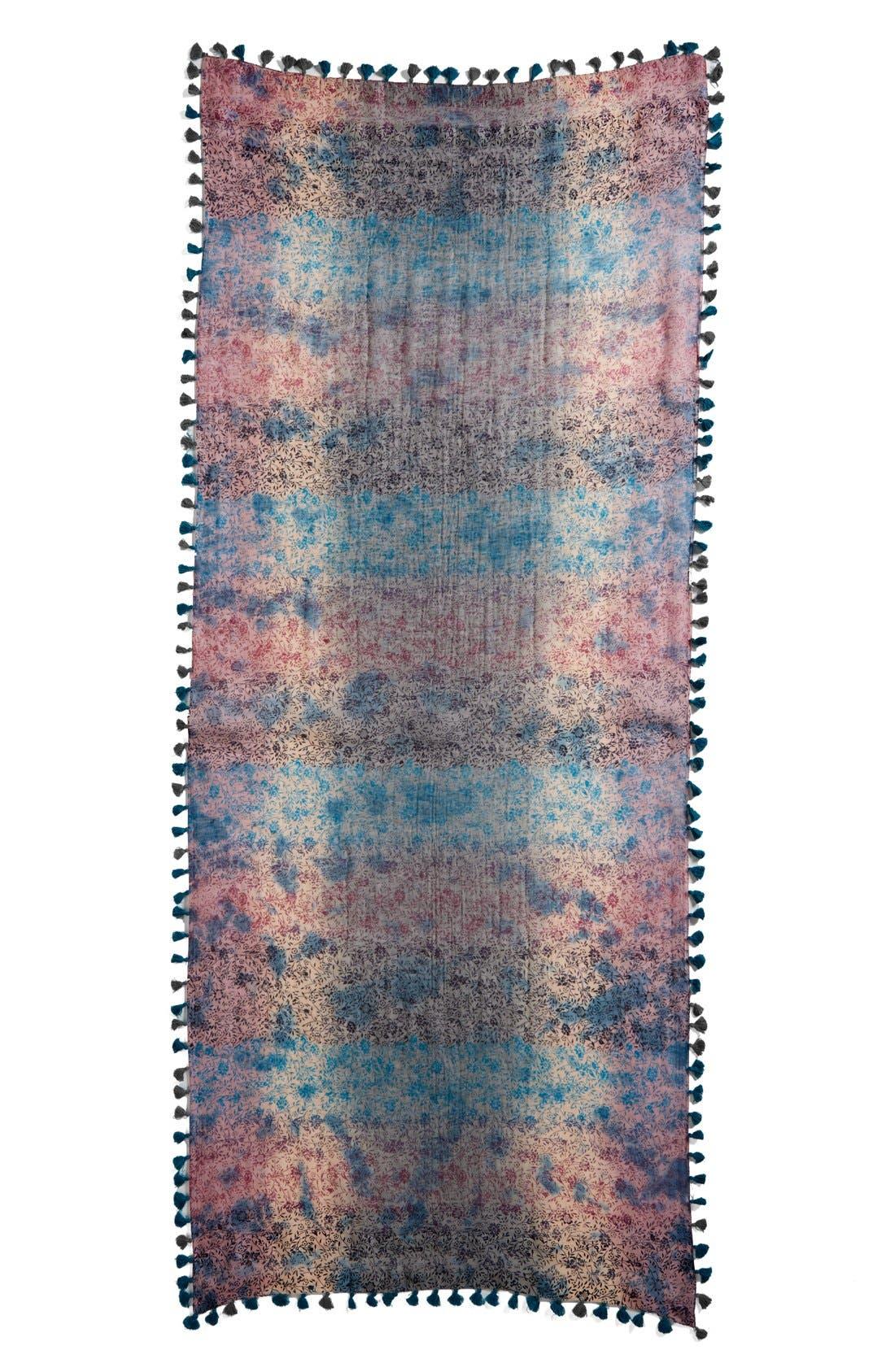 Floral Print Silk & Cotton Scarf,                             Alternate thumbnail 4, color,