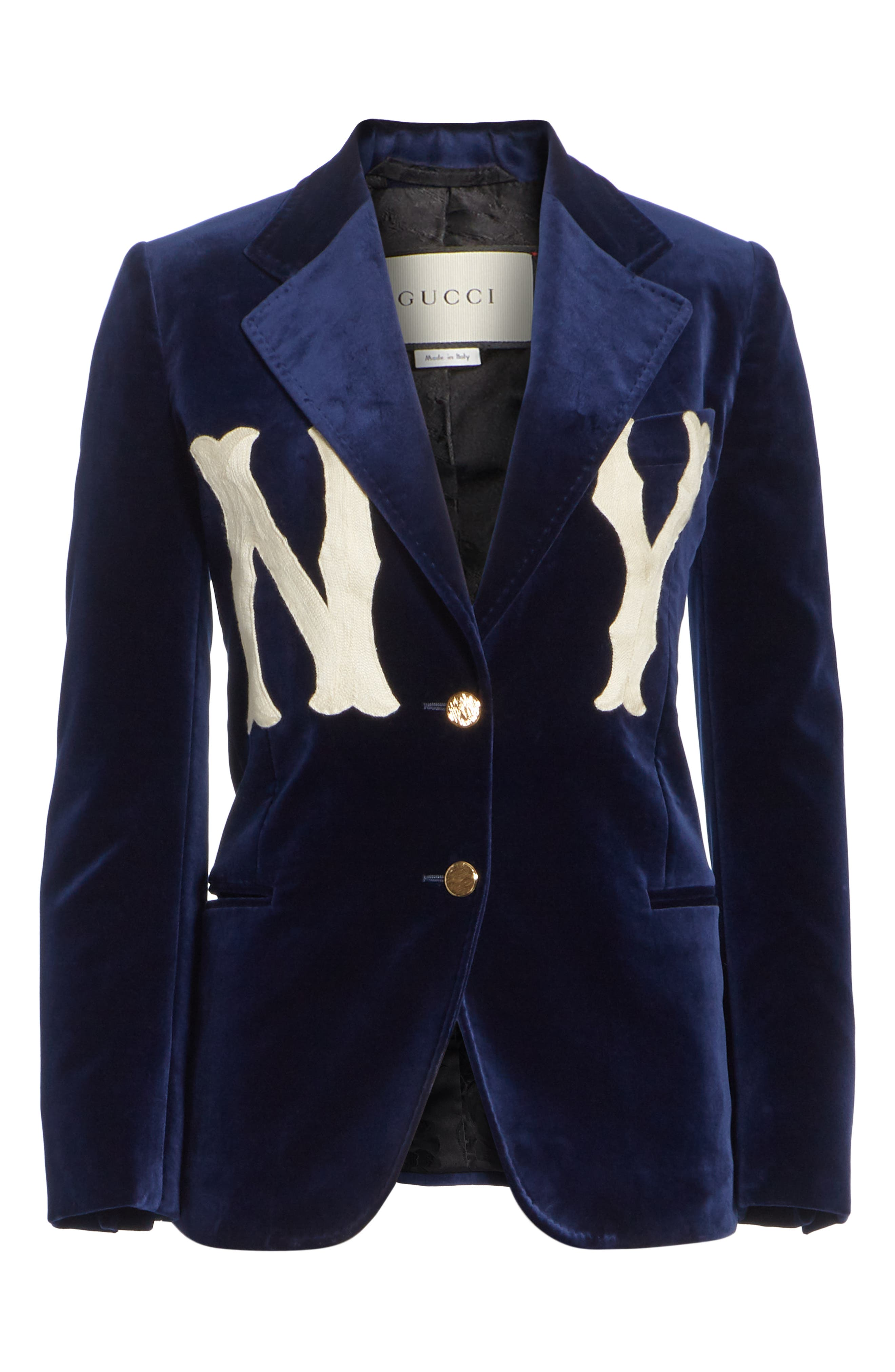 NY Patch Velvet Jacket,                             Alternate thumbnail 4, color,                             BLUE