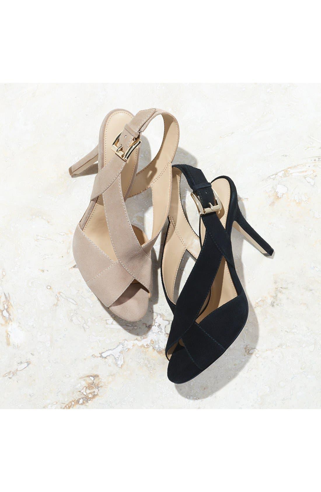 Becky Cross Strap Sandal,                             Alternate thumbnail 7, color,                             BLACK LEATHER