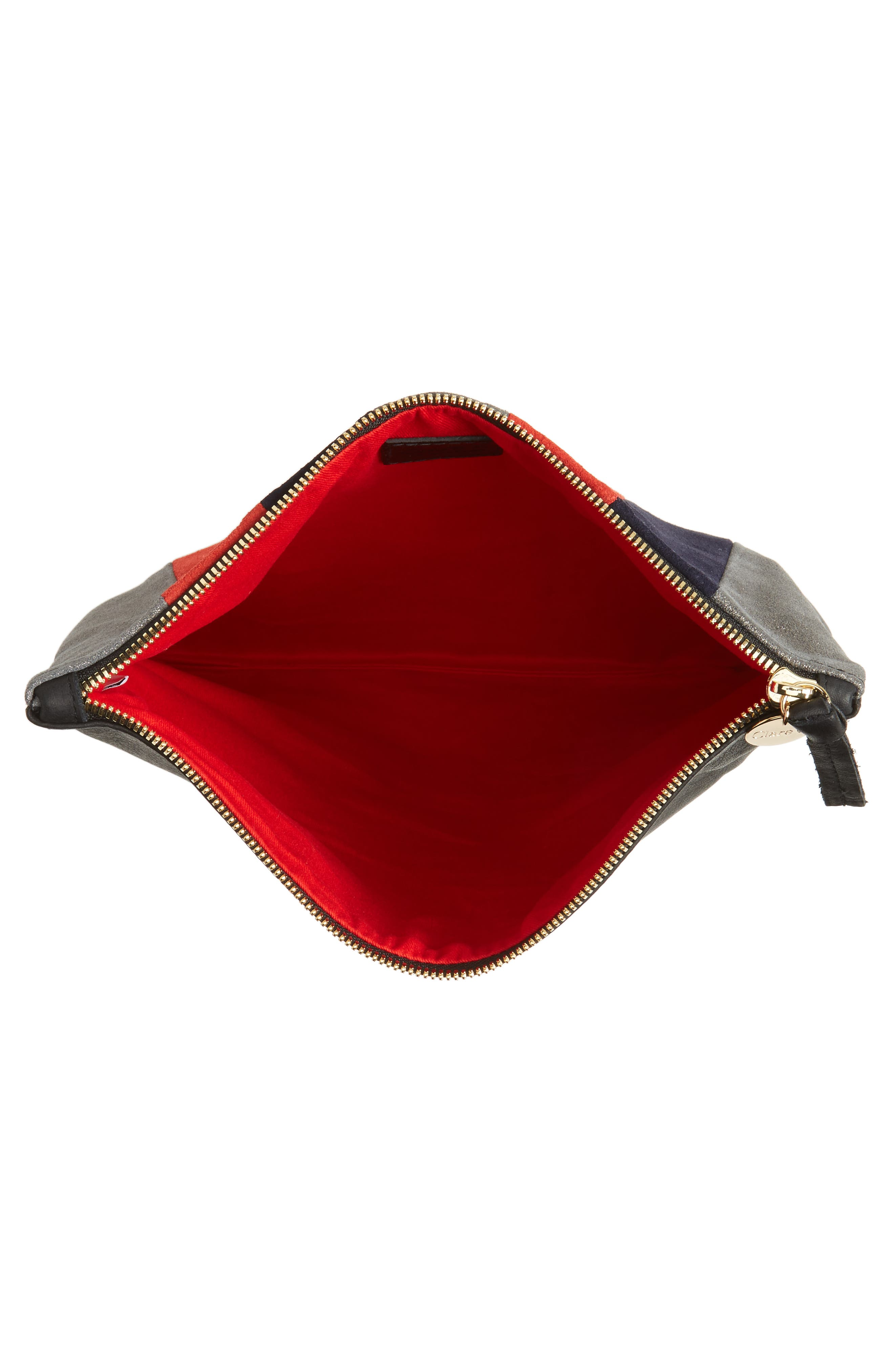 Mixed Media Stripe Leather Foldover Clutch,                             Alternate thumbnail 4, color,